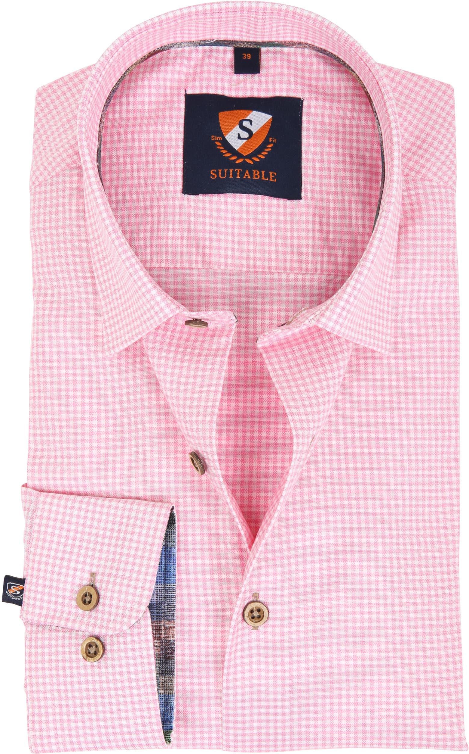 Suitable Overhemd Roze Ruit 181-6 foto 0