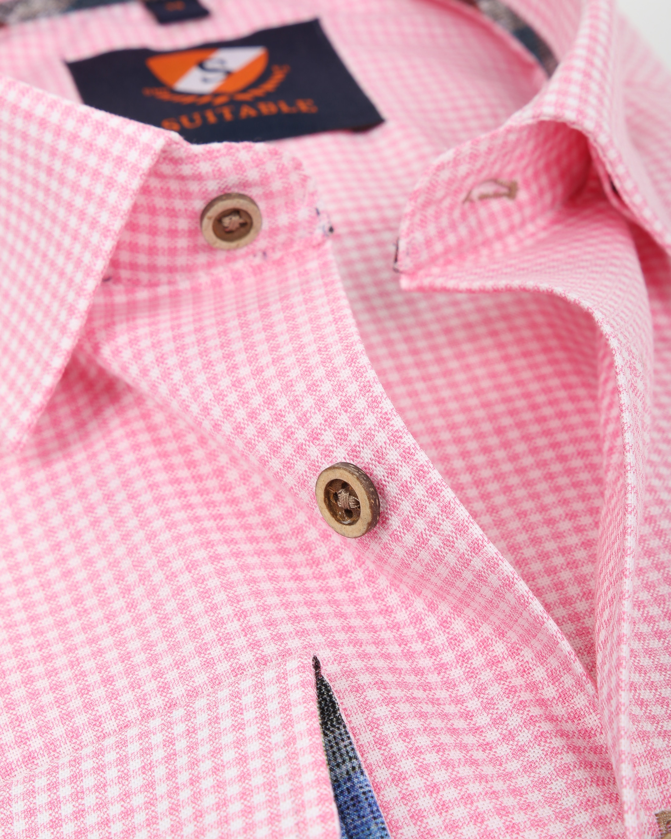 Suitable Overhemd Roze Ruit 181-6 foto 1