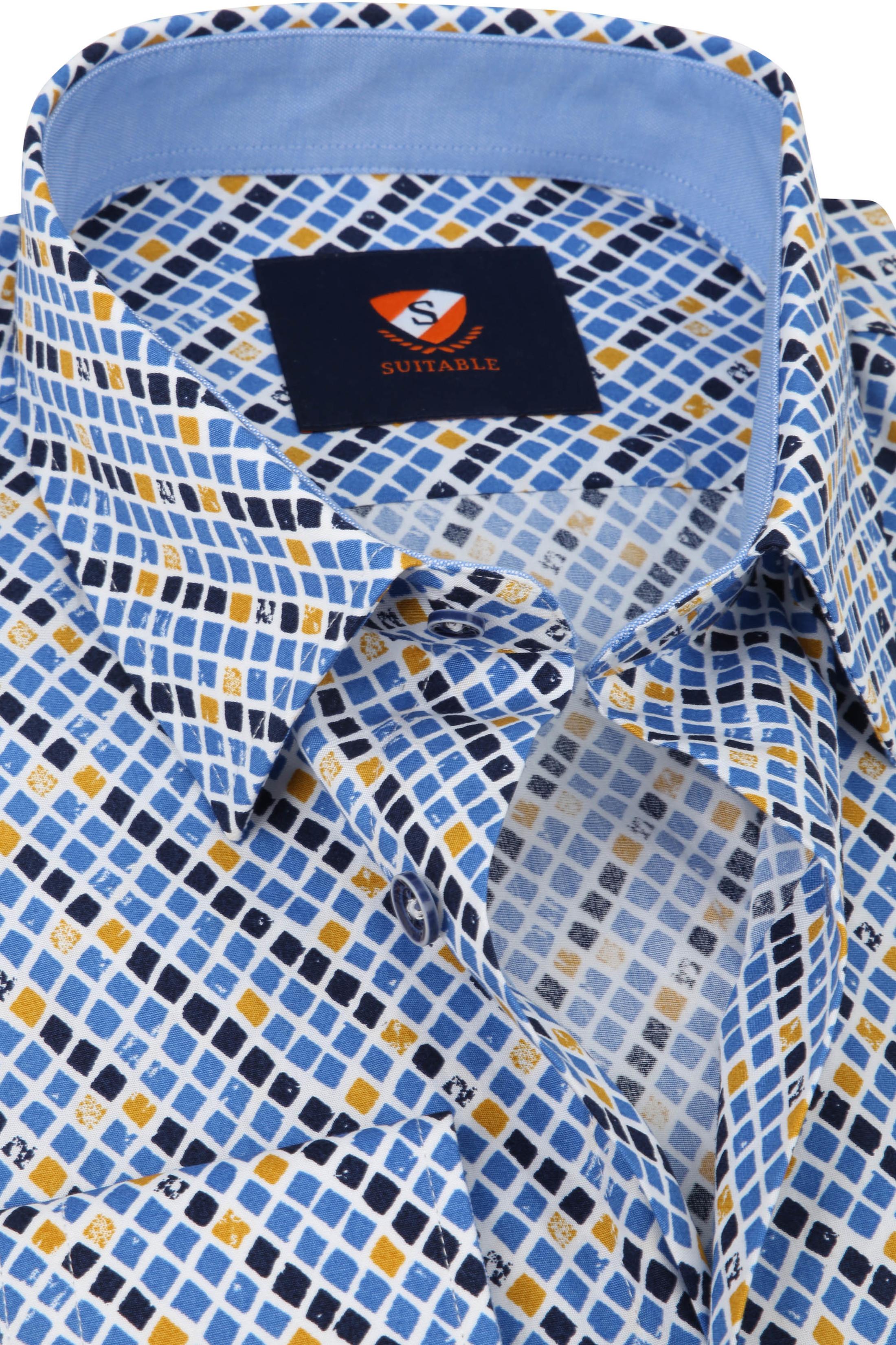 Suitable Overhemd Ruit Blauw Geel