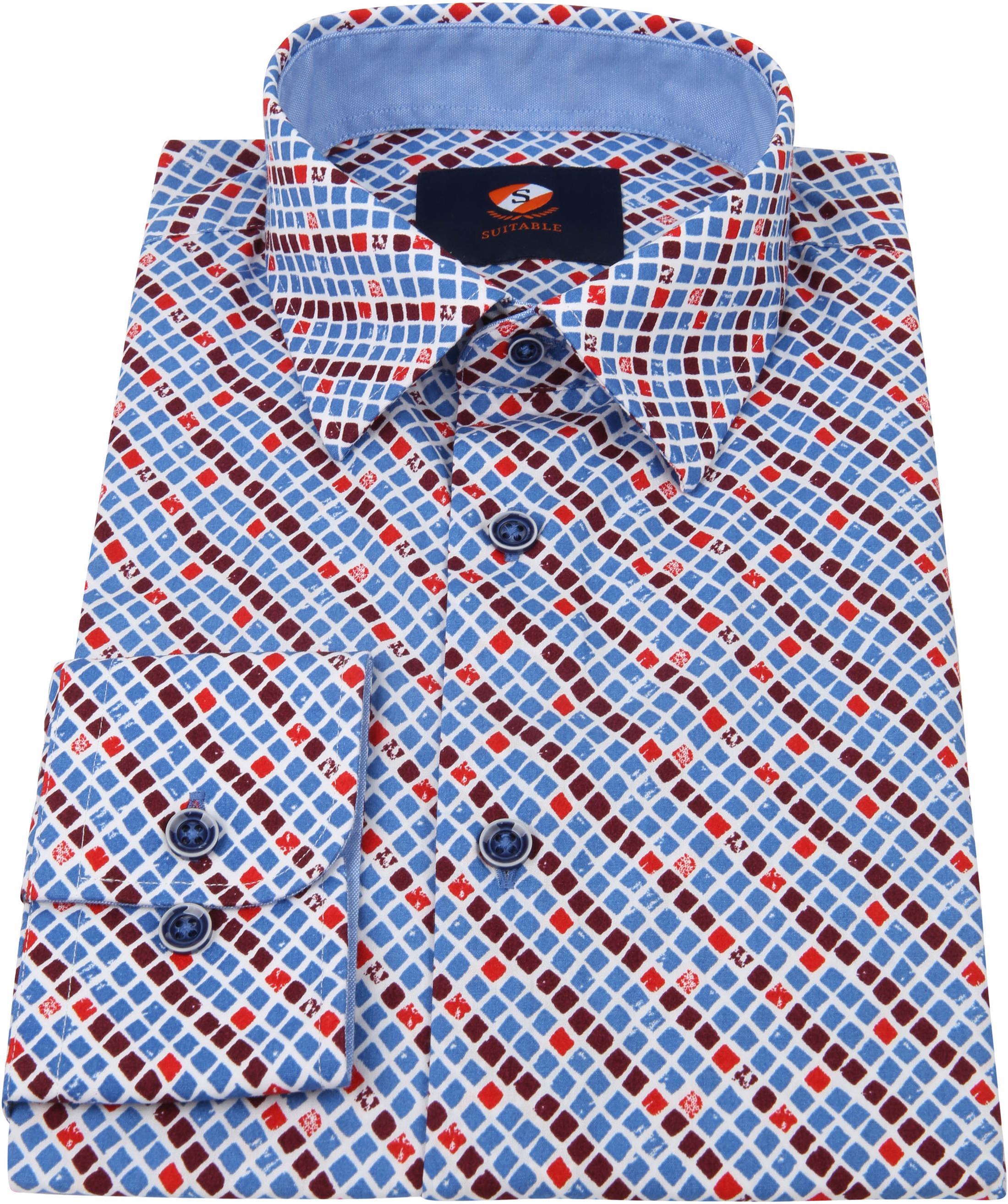 Suitable Overhemd Ruit Blauw Rood