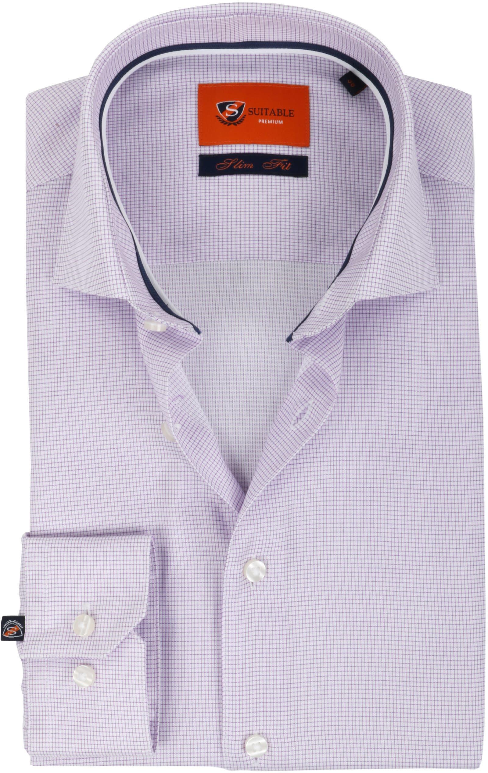 Suitable Overhemd Ruit Paars foto 0