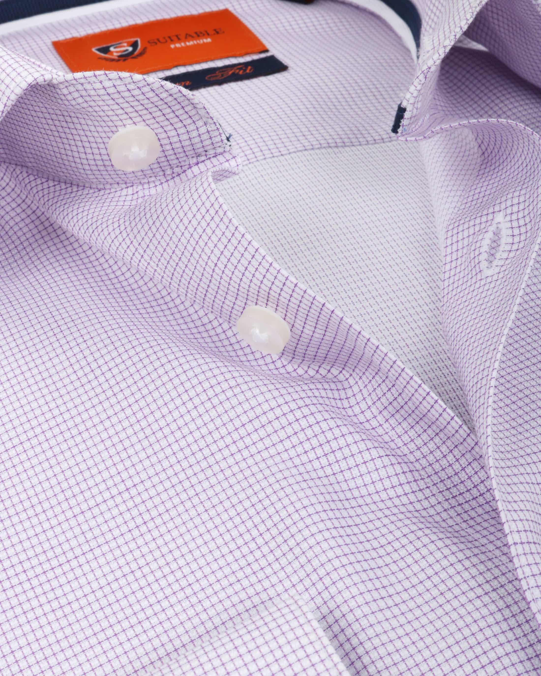 Suitable Overhemd Ruit Paars foto 1