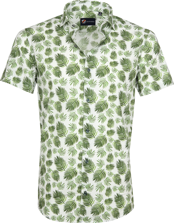 Suitable Overhemd SS Varen Groen S9 6 wit varen online