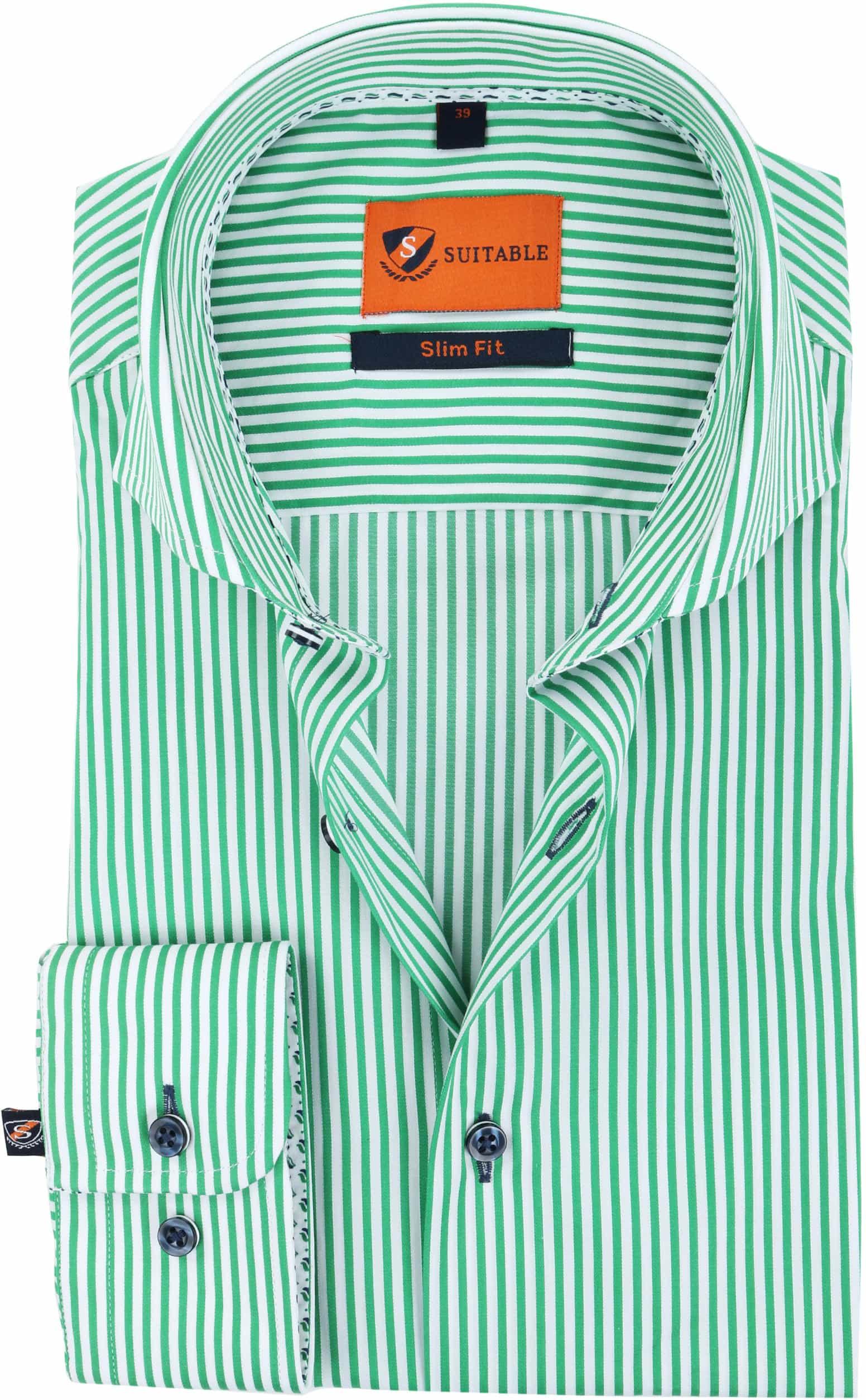 Suitable Overhemd Strepen Groen 174-6 foto 0