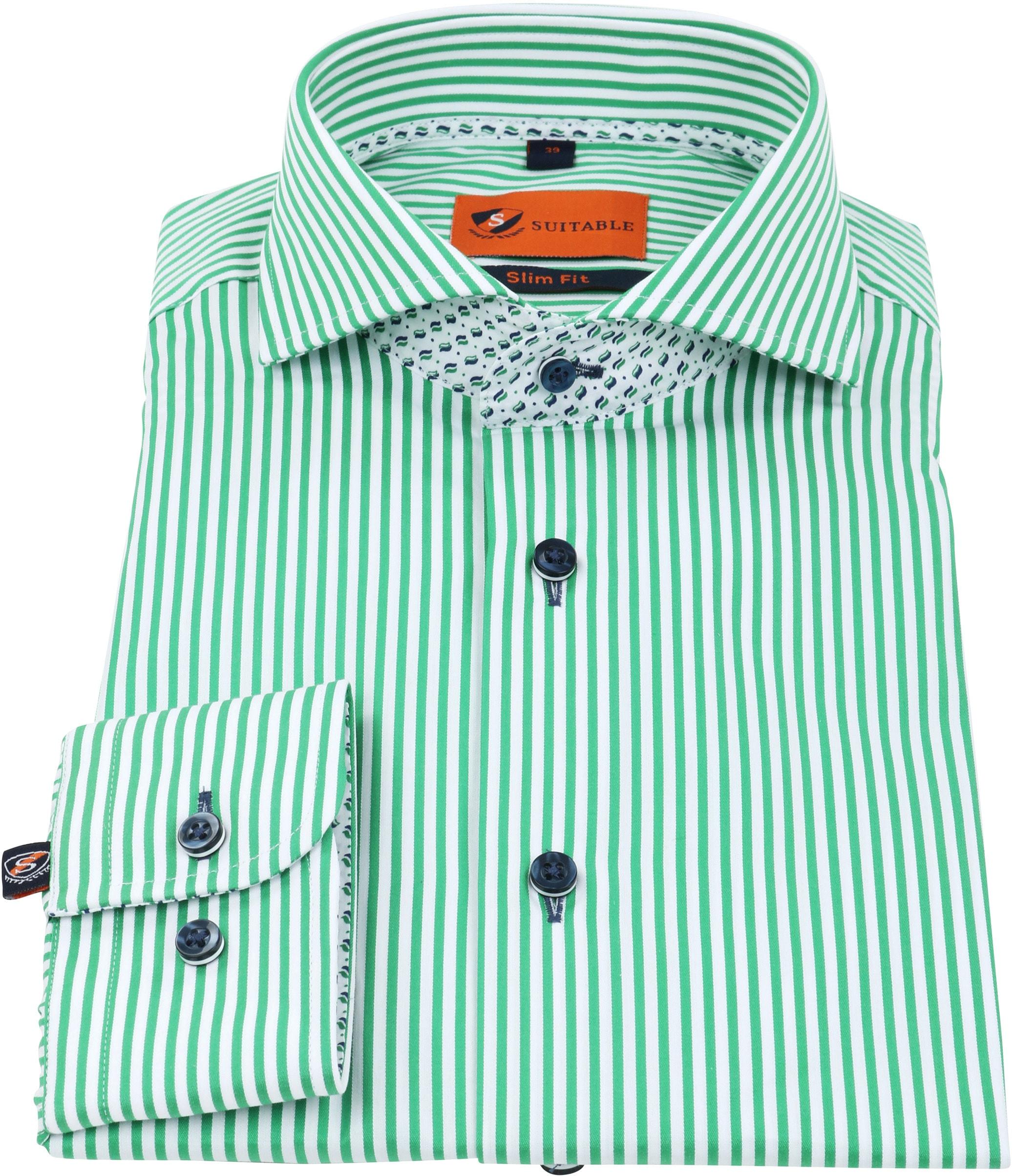 Suitable Overhemd Strepen Groen 174-6 foto 2