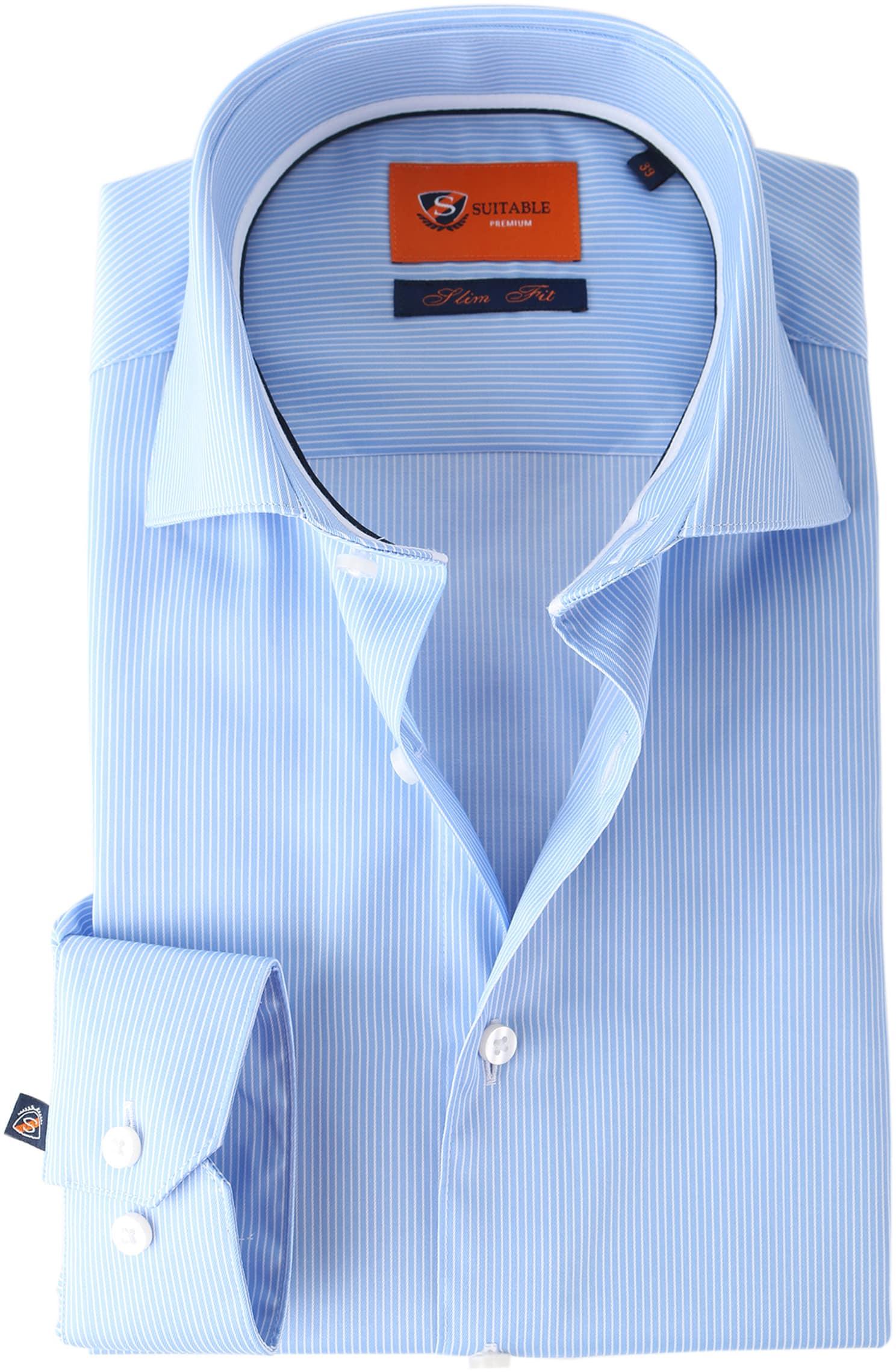 Suitable Overhemd Stripe Blue Adam foto 0