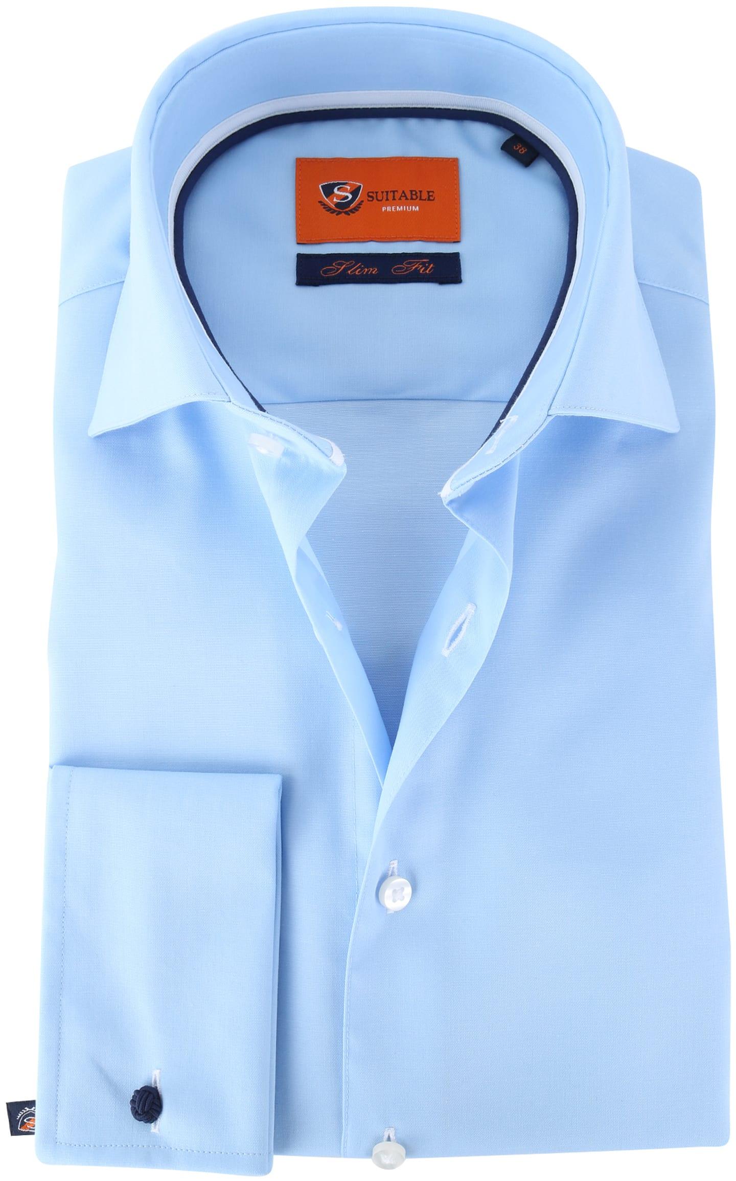 Suitable Overhemd Twill Blue Dubbelmanchet foto 0