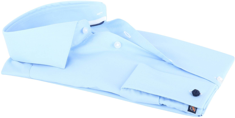 Suitable Overhemd Twill Blue Dubbelmanchet foto 1
