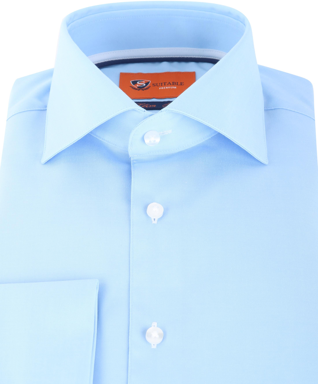 Suitable Overhemd Twill Blue Dubbelmanchet foto 2