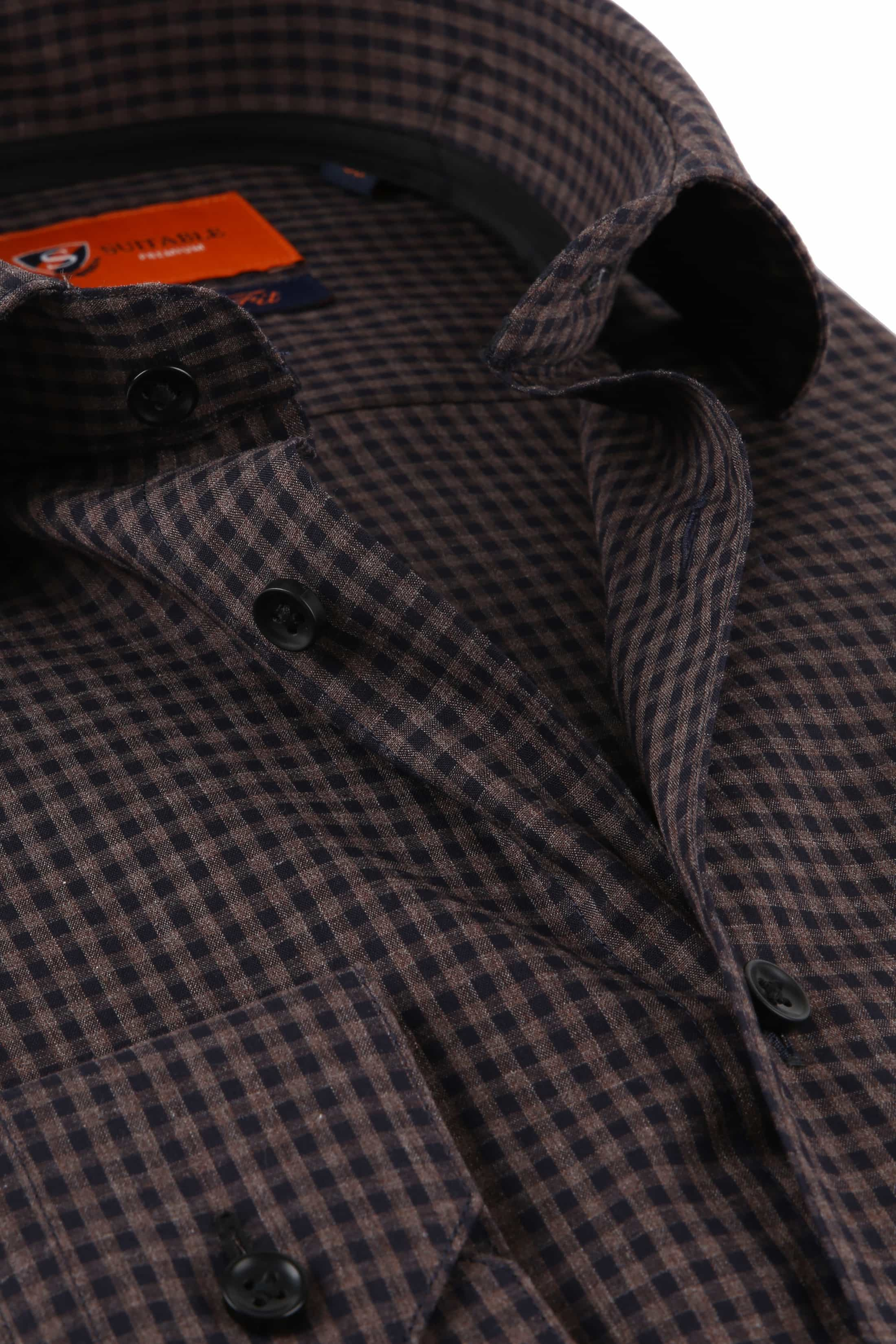 Suitable Overhemd Vichy Ruit Bruin foto 1
