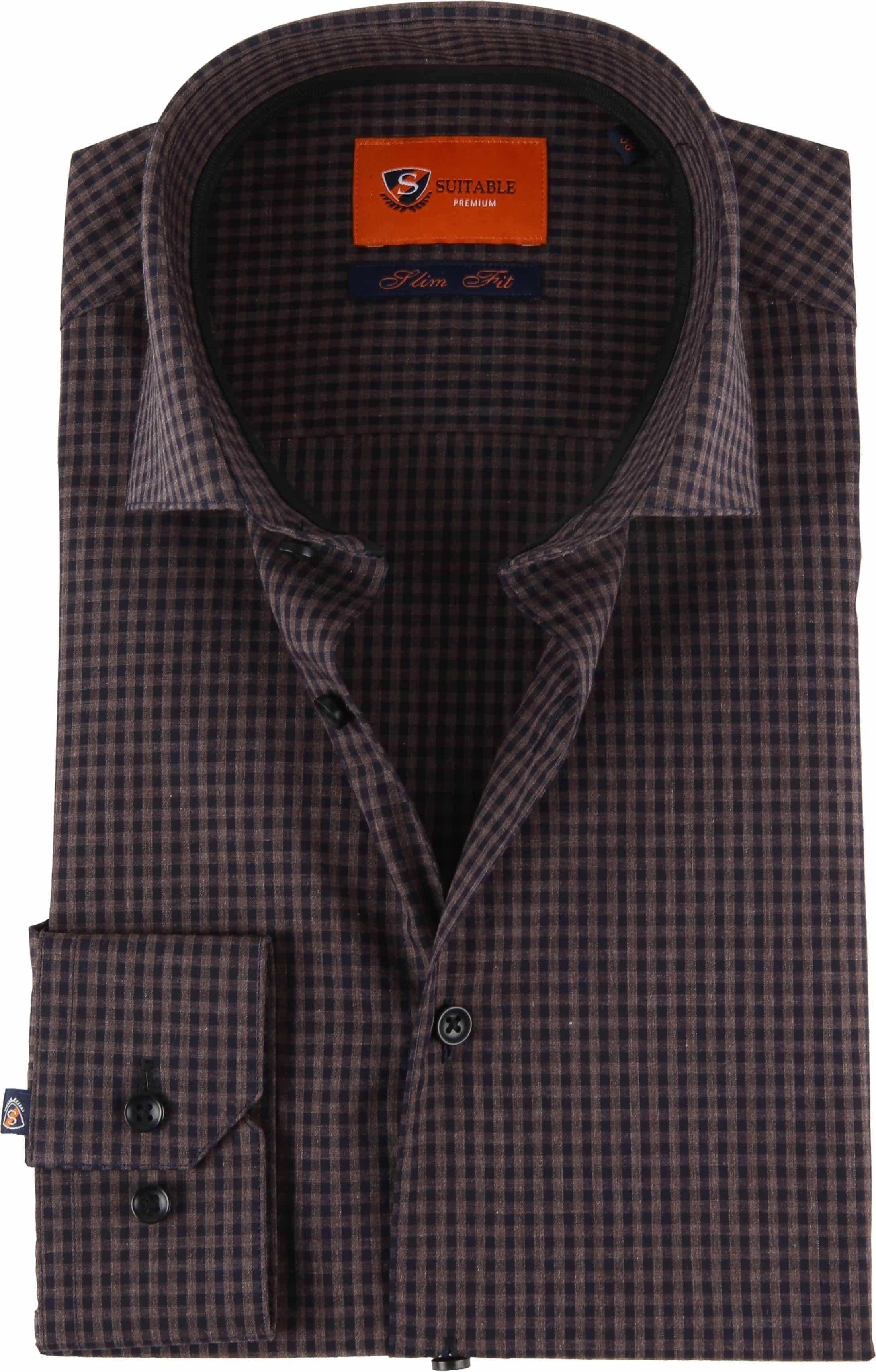 Suitable Overhemd Vichy Ruit Bruin foto 0