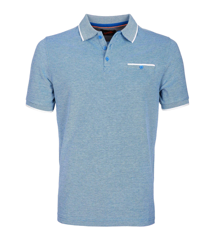 Suitable Polo Blauw Oxford foto 0