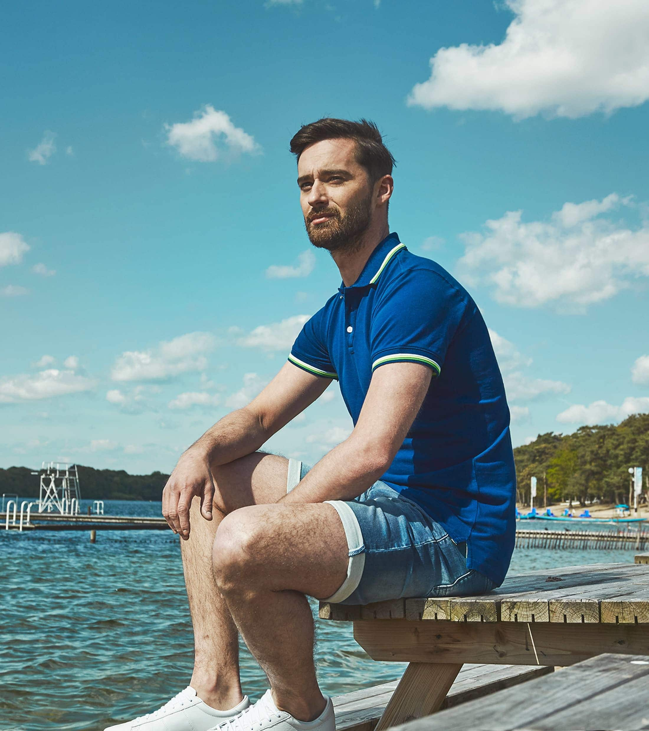 Suitable Polo Neon Blauw foto 3