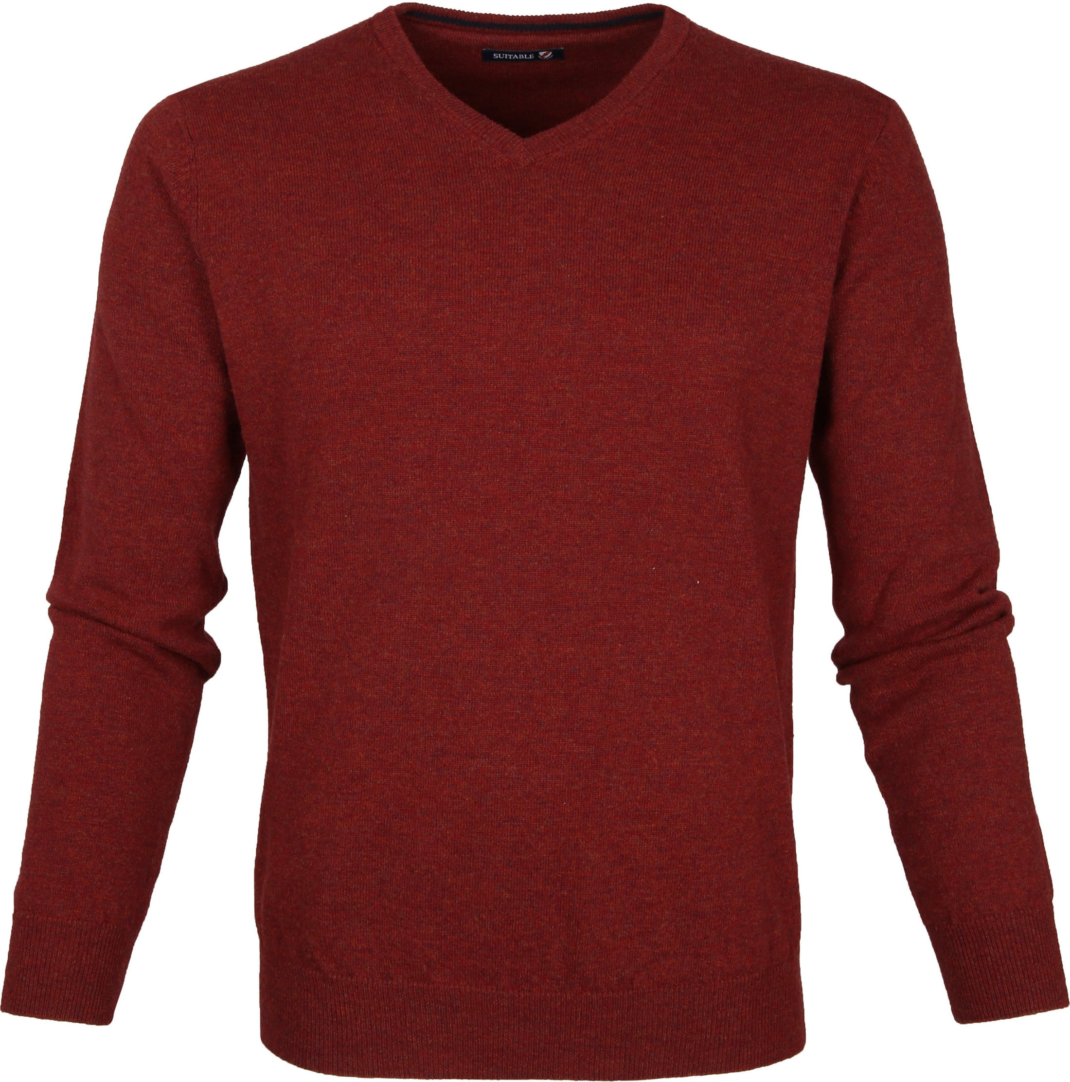 Suitable Pullover Lambswool V-Neck Dark Red foto 0