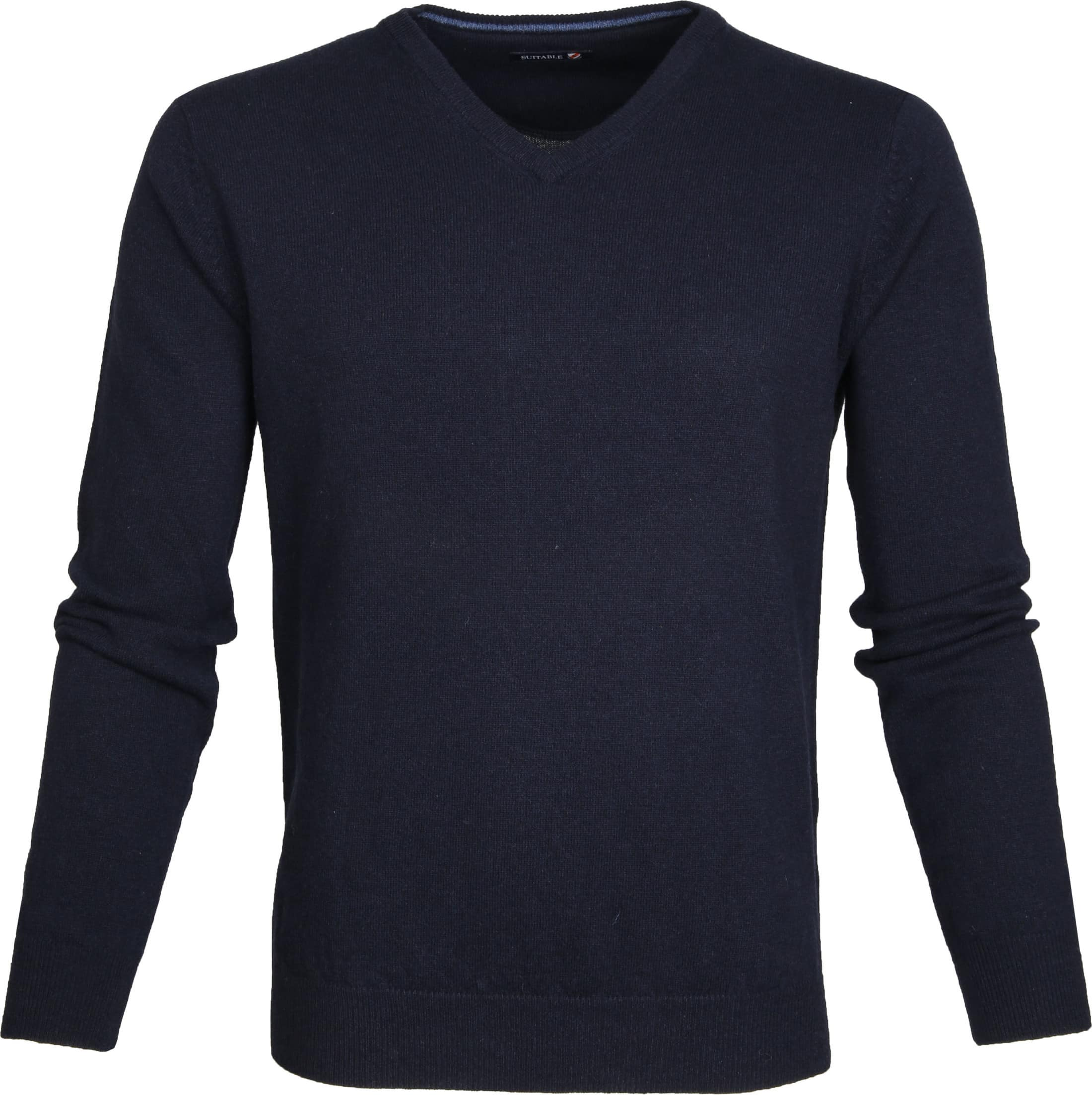 Suitable Pullover Lambswool V-Neck Navy foto 0