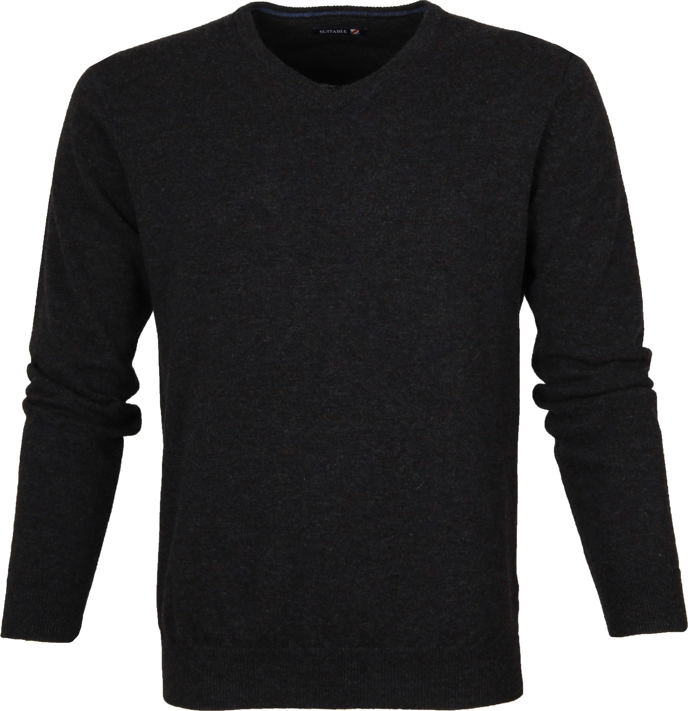 Suitable Pullover Lammwolle V-Ausschnitt Anthrazit foto 0