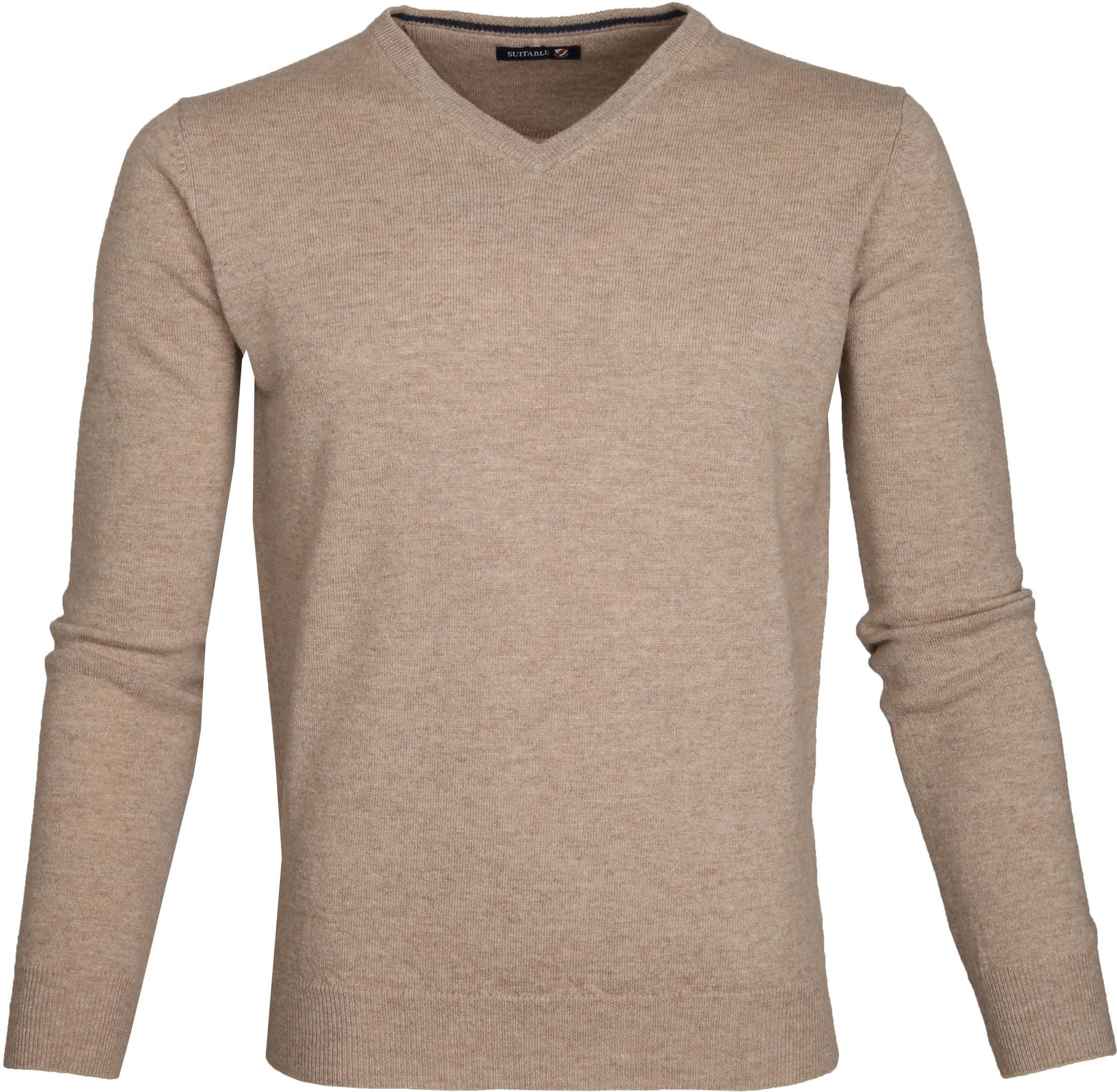 Suitable Pullover Lammwolle V-Ausschnitt Beige foto 0