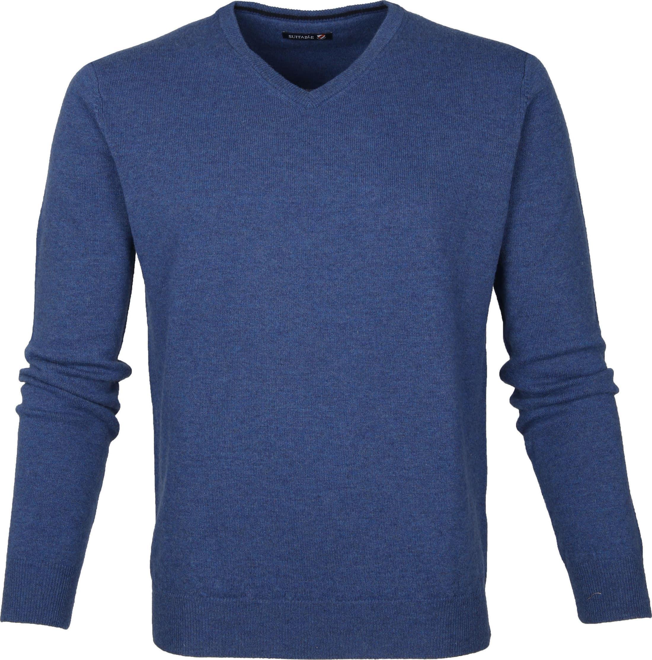Suitable Pullover Lammwolle V-Ausschnitt Blau foto 0