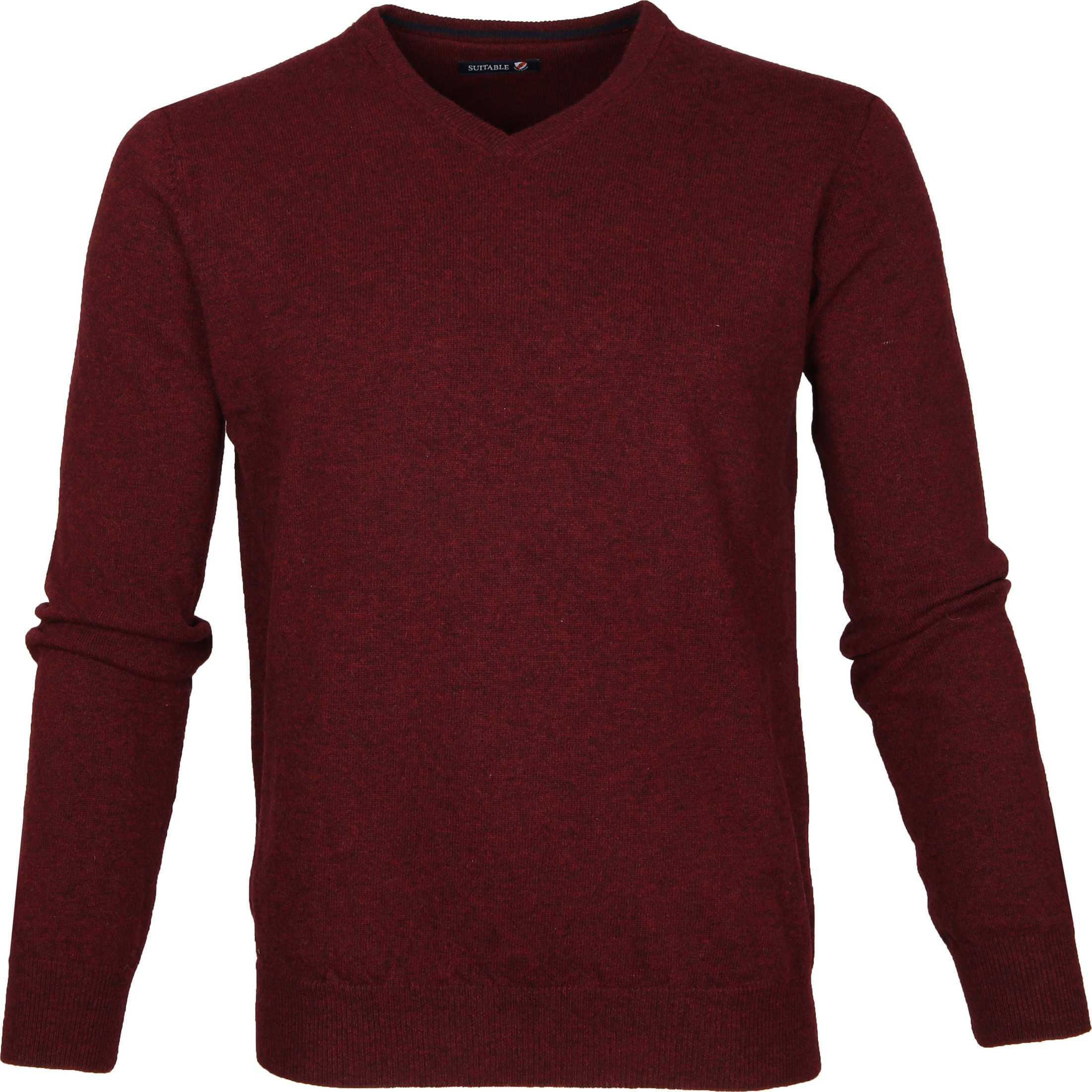 Suitable Pullover Lammwolle V-Ausschnitt Bordeaux foto 0