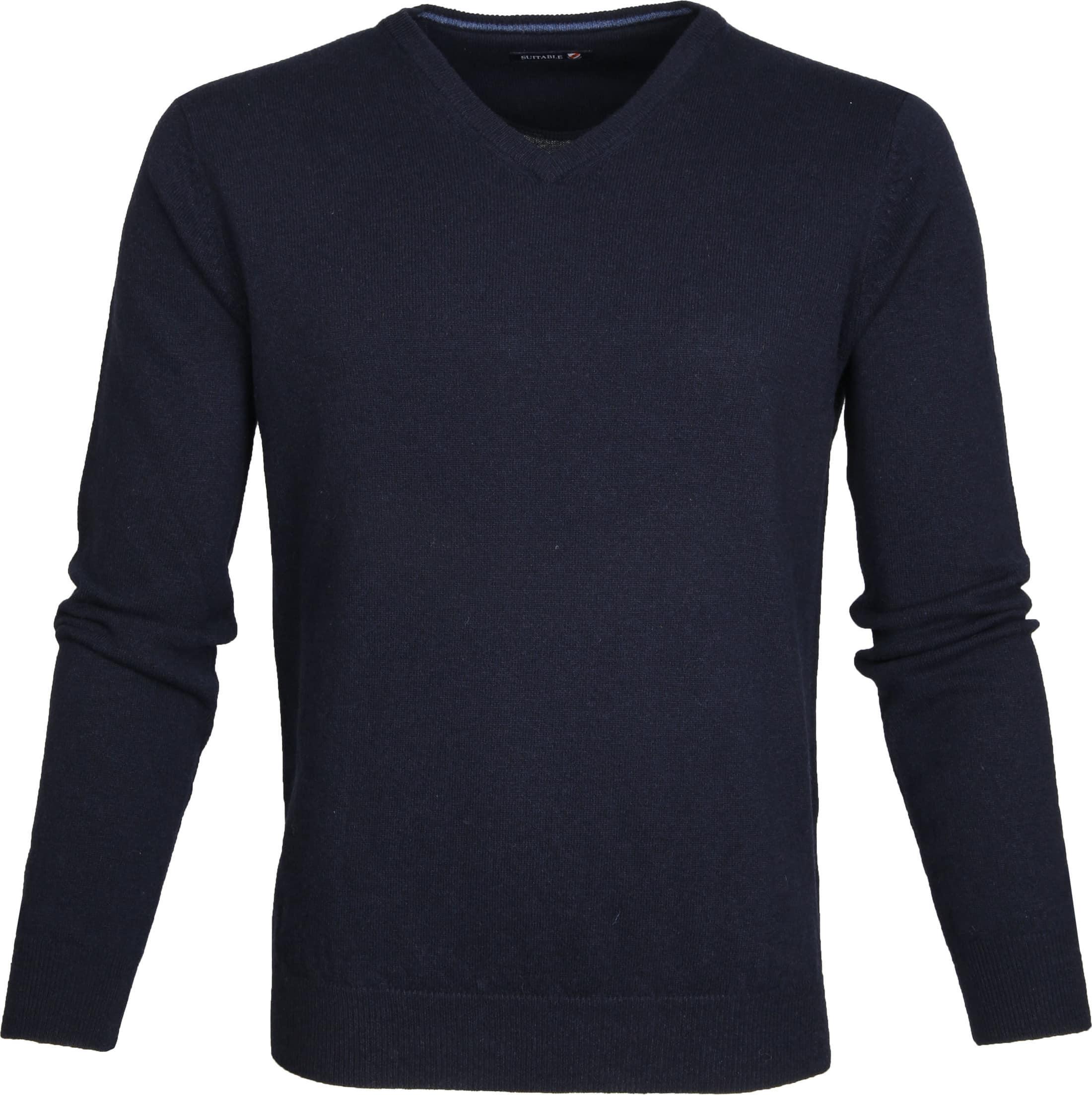 Suitable Pullover Lammwolle V-Ausschnitt Dunkelblau foto 0