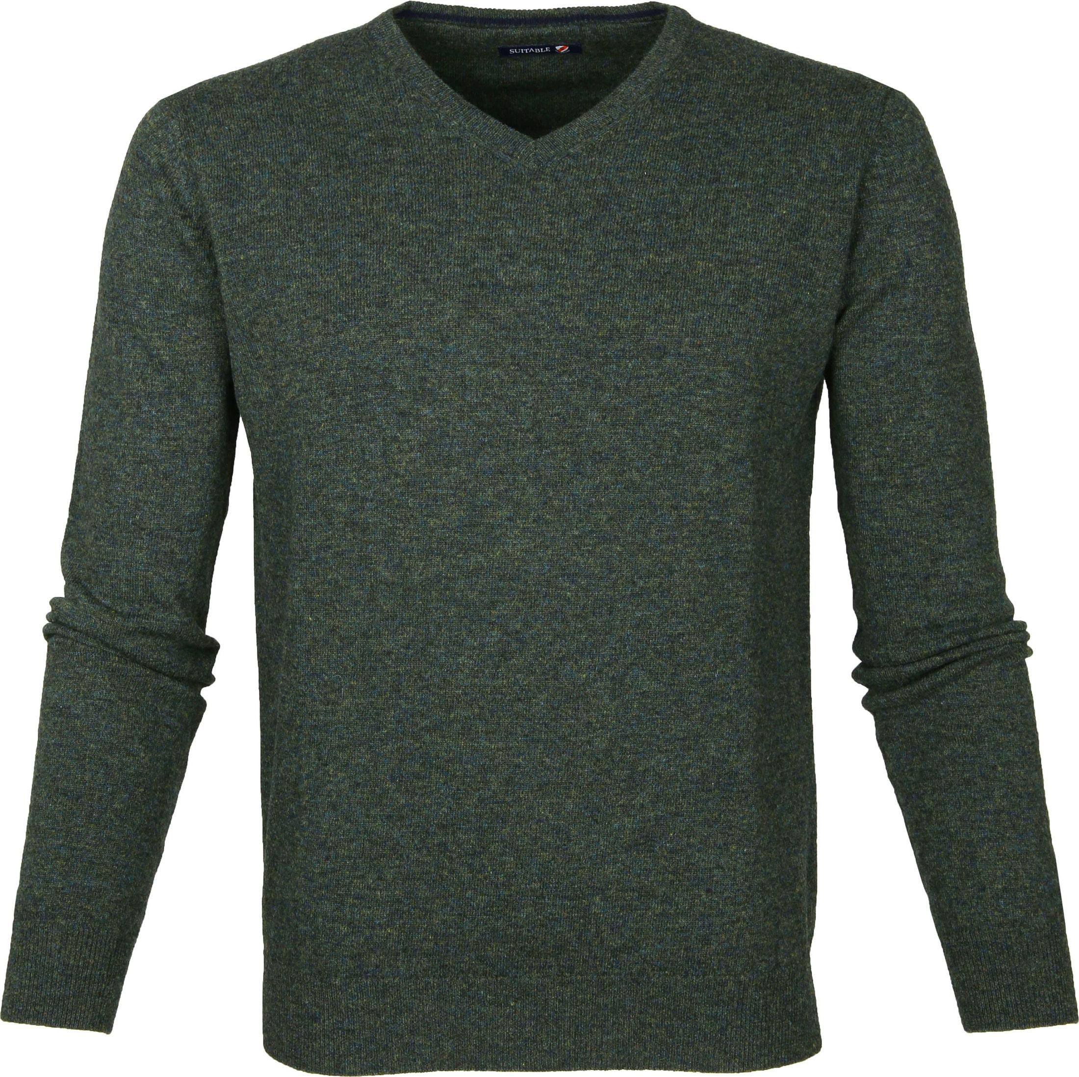 Suitable Pullover Lammwolle V-Ausschnitt Dunkelgrün foto 0