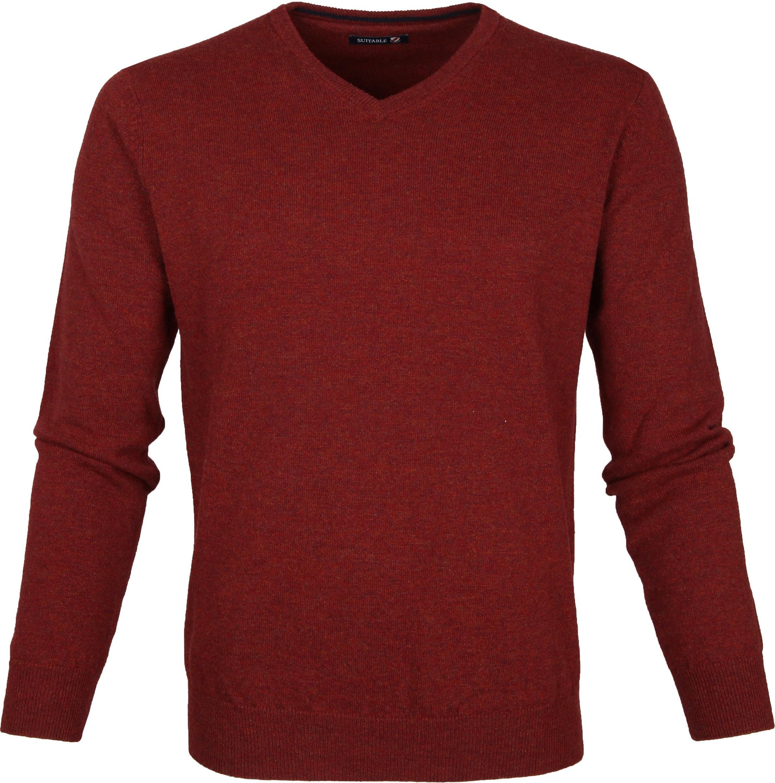 Suitable Pullover Lammwolle V-Ausschnitt Dunkelrot foto 0