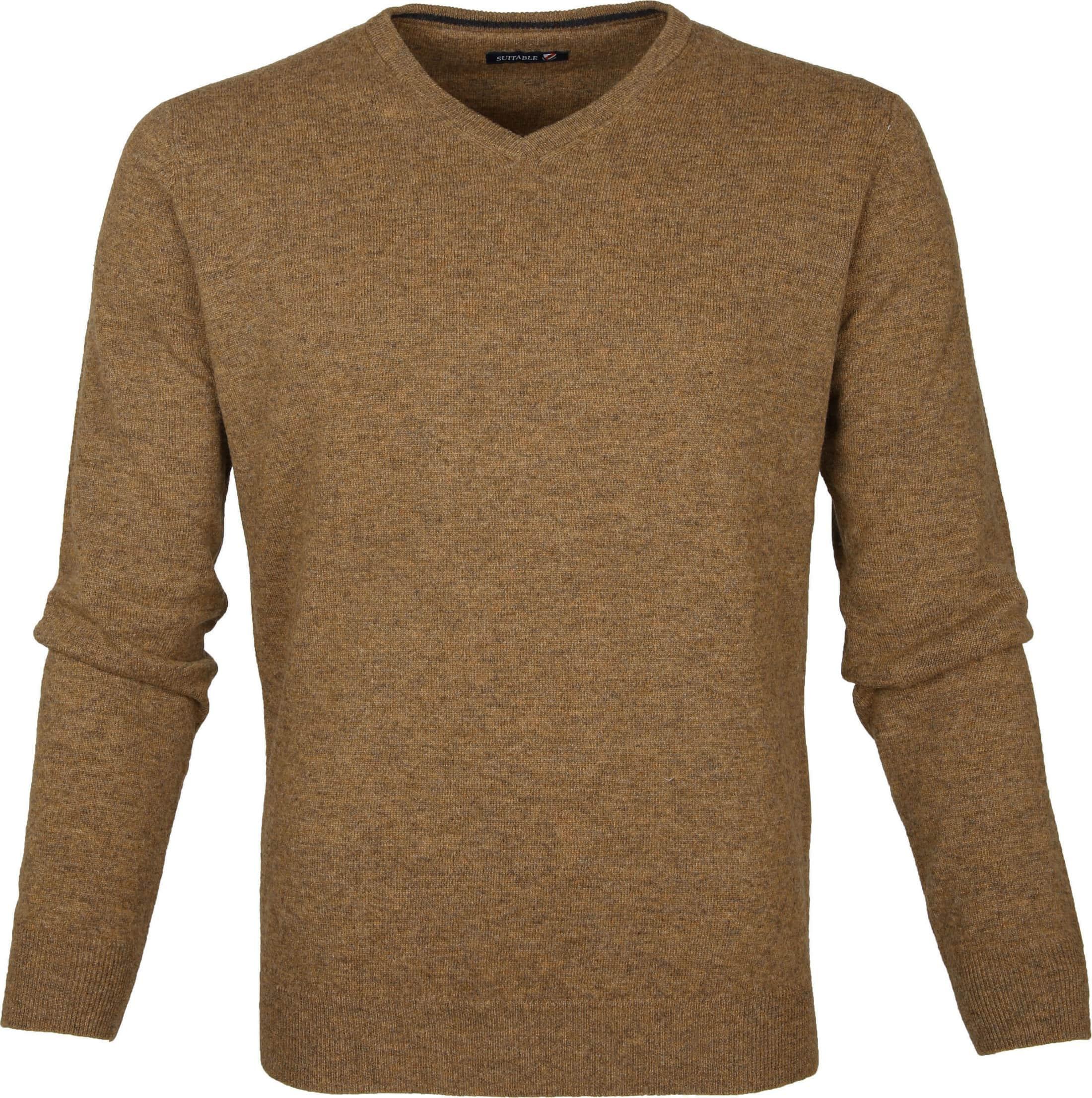 Suitable Pullover Lammwolle V-Ausschnitt Kamel foto 0