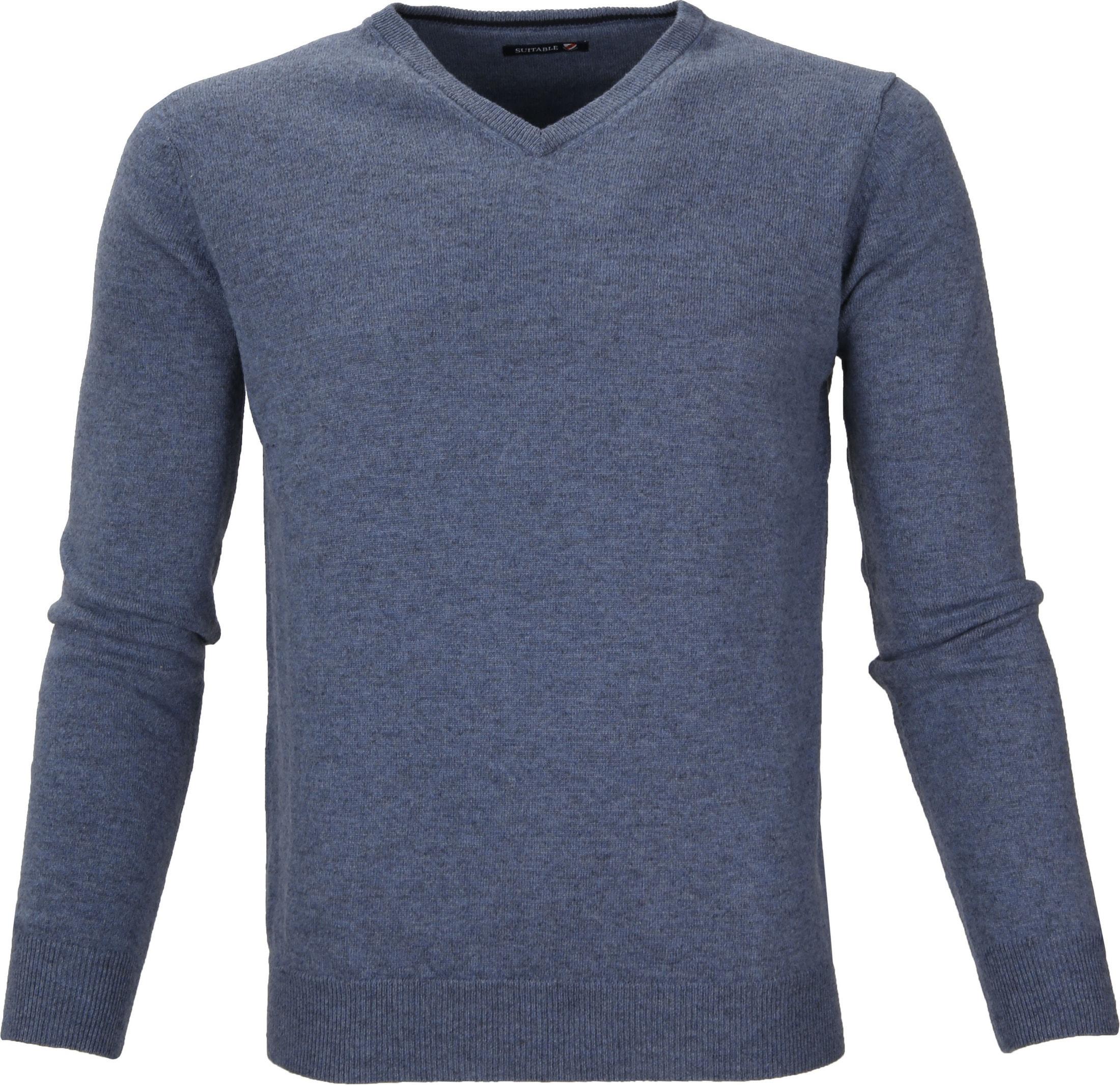 Suitable Pullover Lamswol V-Hals Lichtblauw foto 0