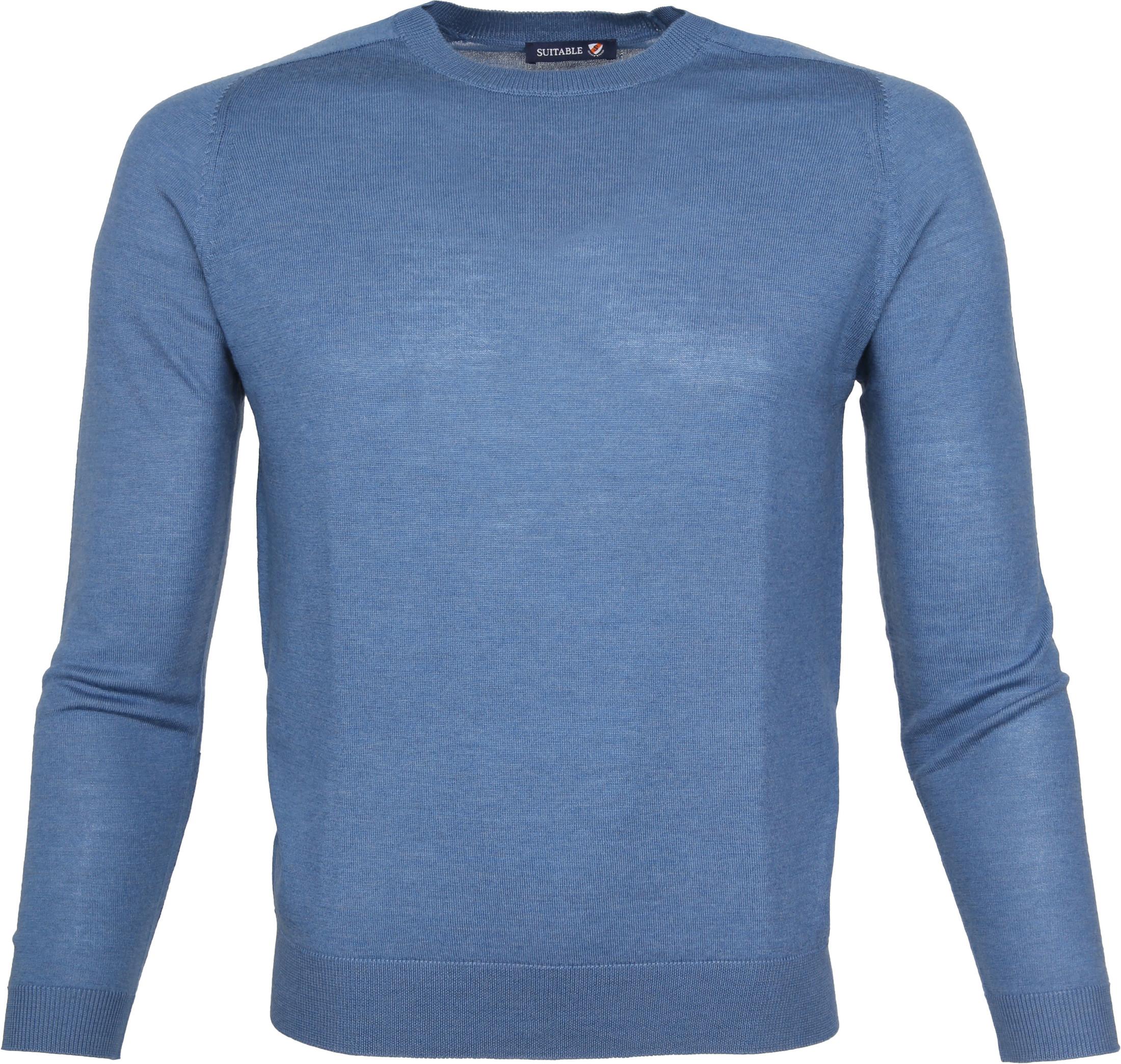 Suitable Pullover Merino Blauw foto 0