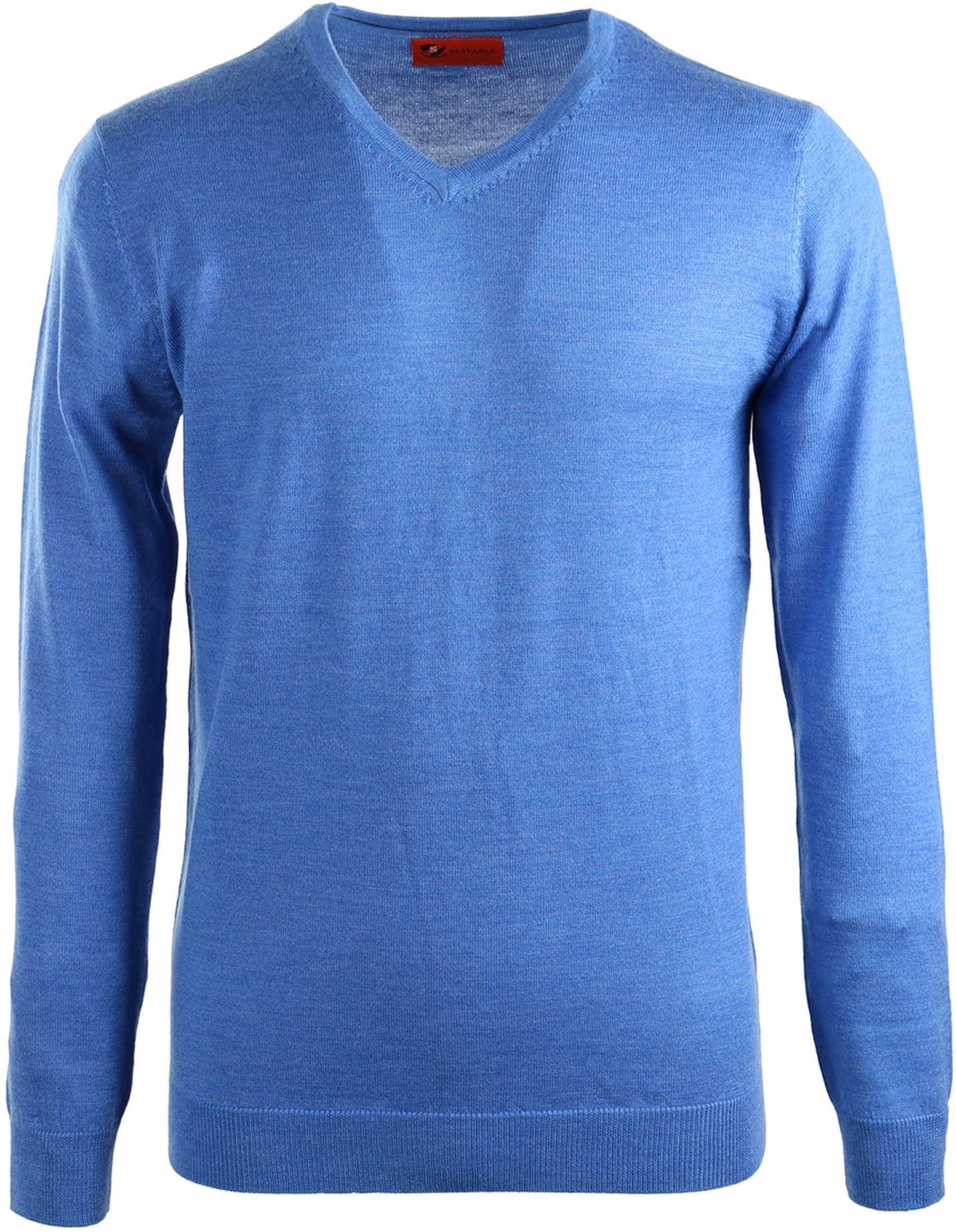 Suitable Pullover Merino Wol Blauw foto 0