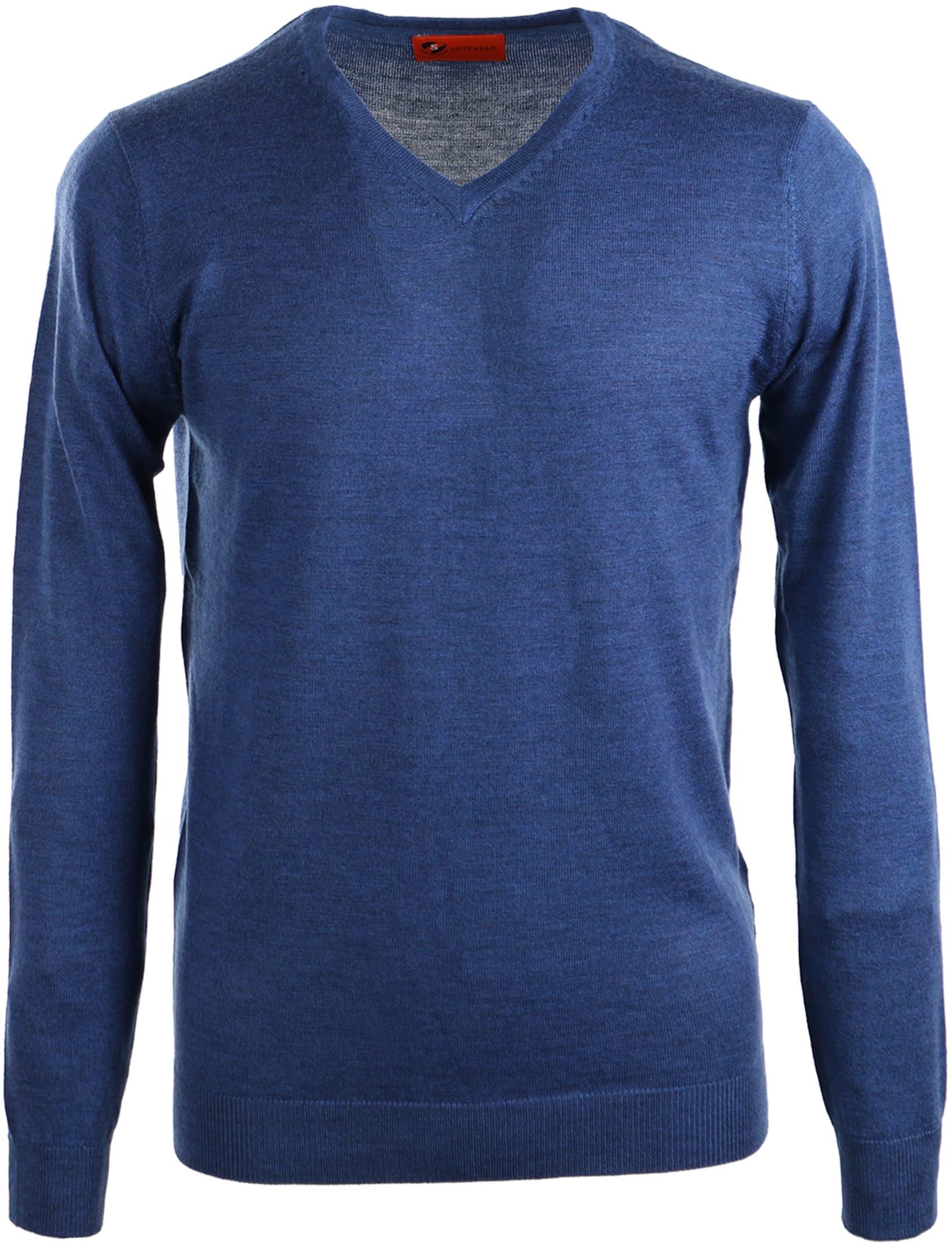 Suitable Pullover Merino Wol Indigo Blauw foto 0