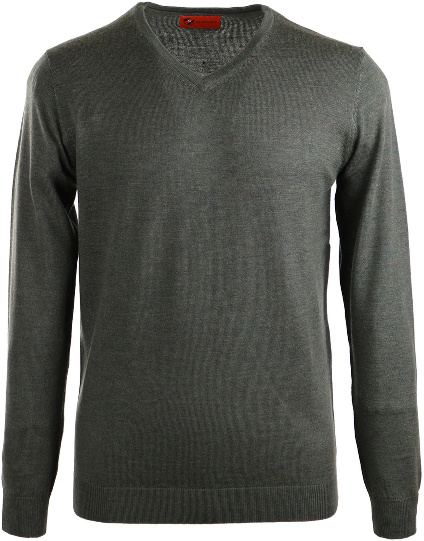 Suitable Pullover Merino Wool Dark Green foto 0