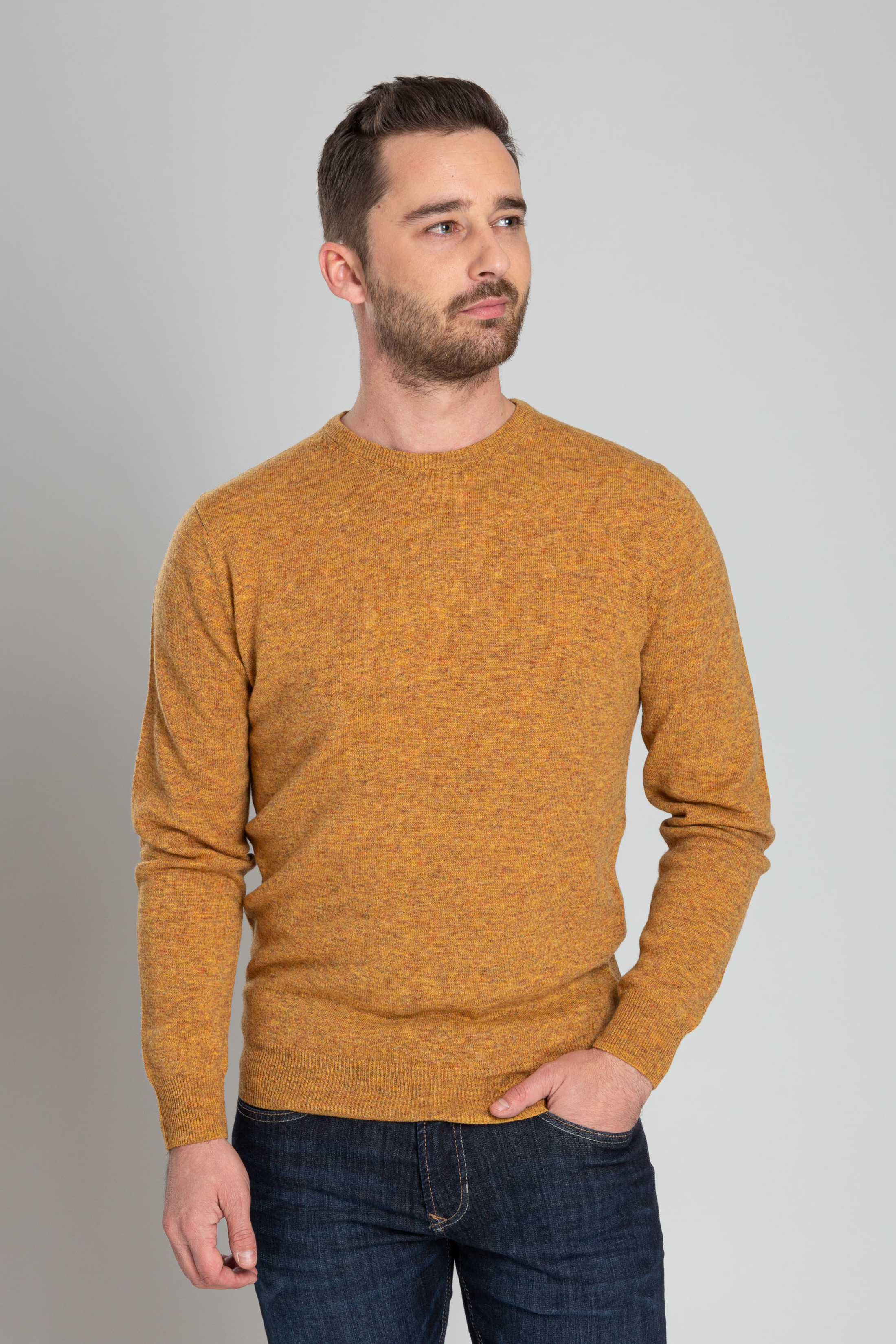 Suitable Pullover O-Hals Lamswol Oker foto 4