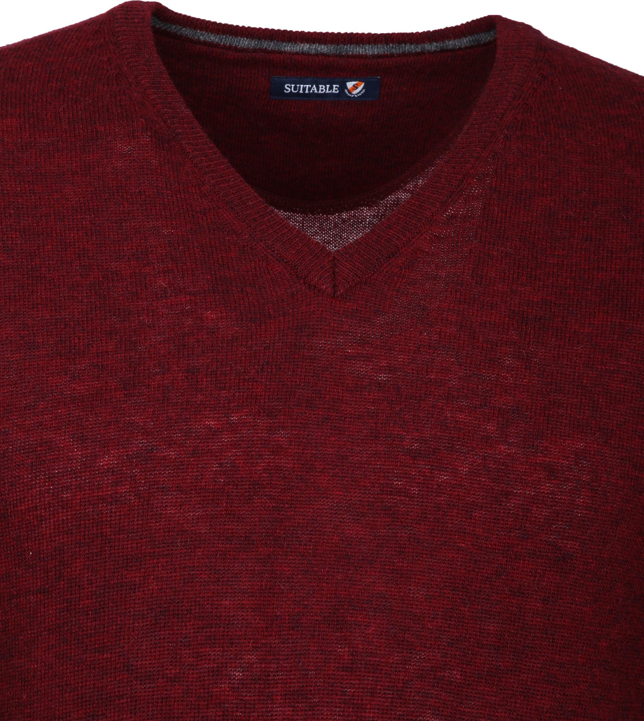Suitable Pullover V-Hals Lamswol Bordeaux foto 2