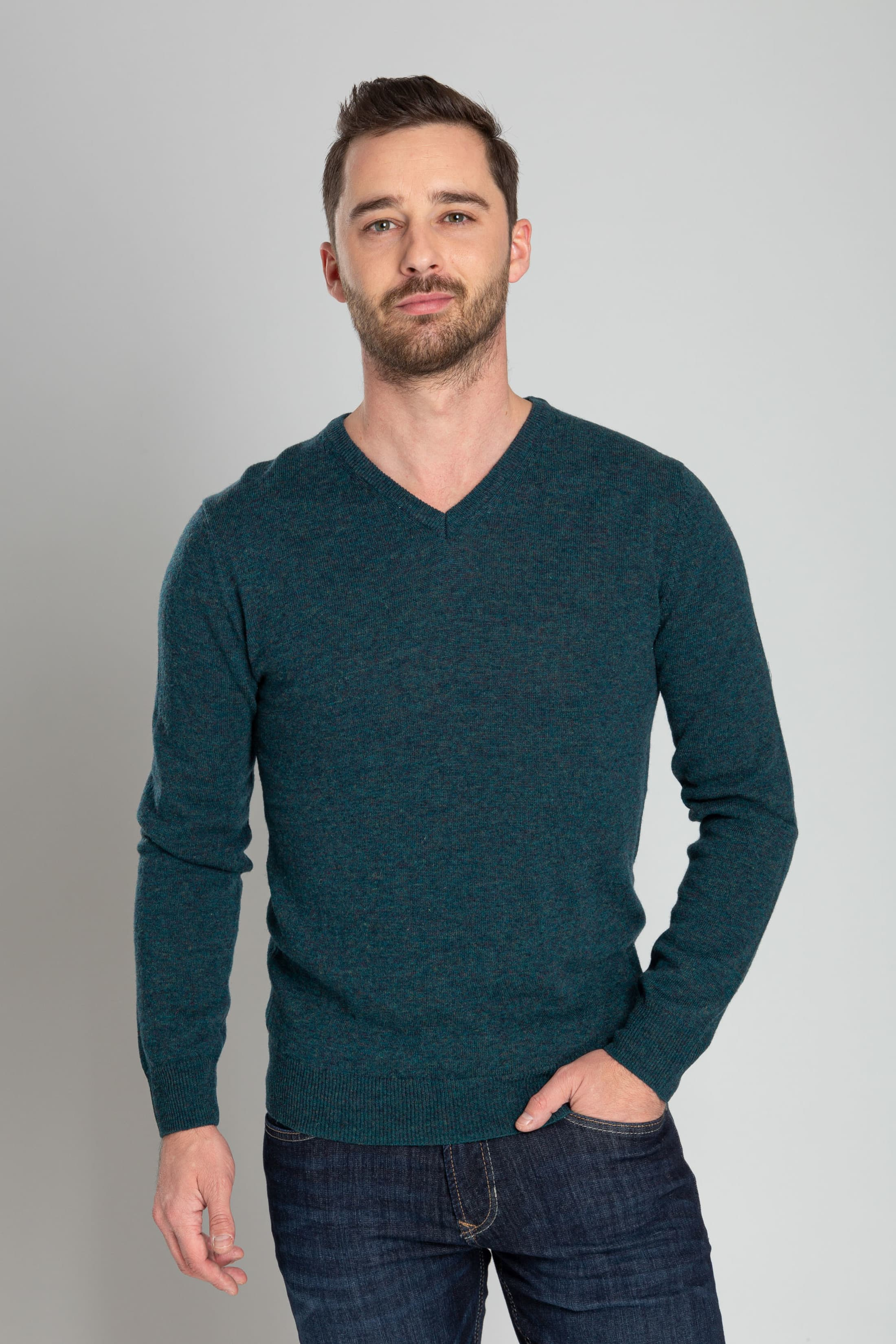 Suitable Pullover V-Hals Lamswol Groen foto 1