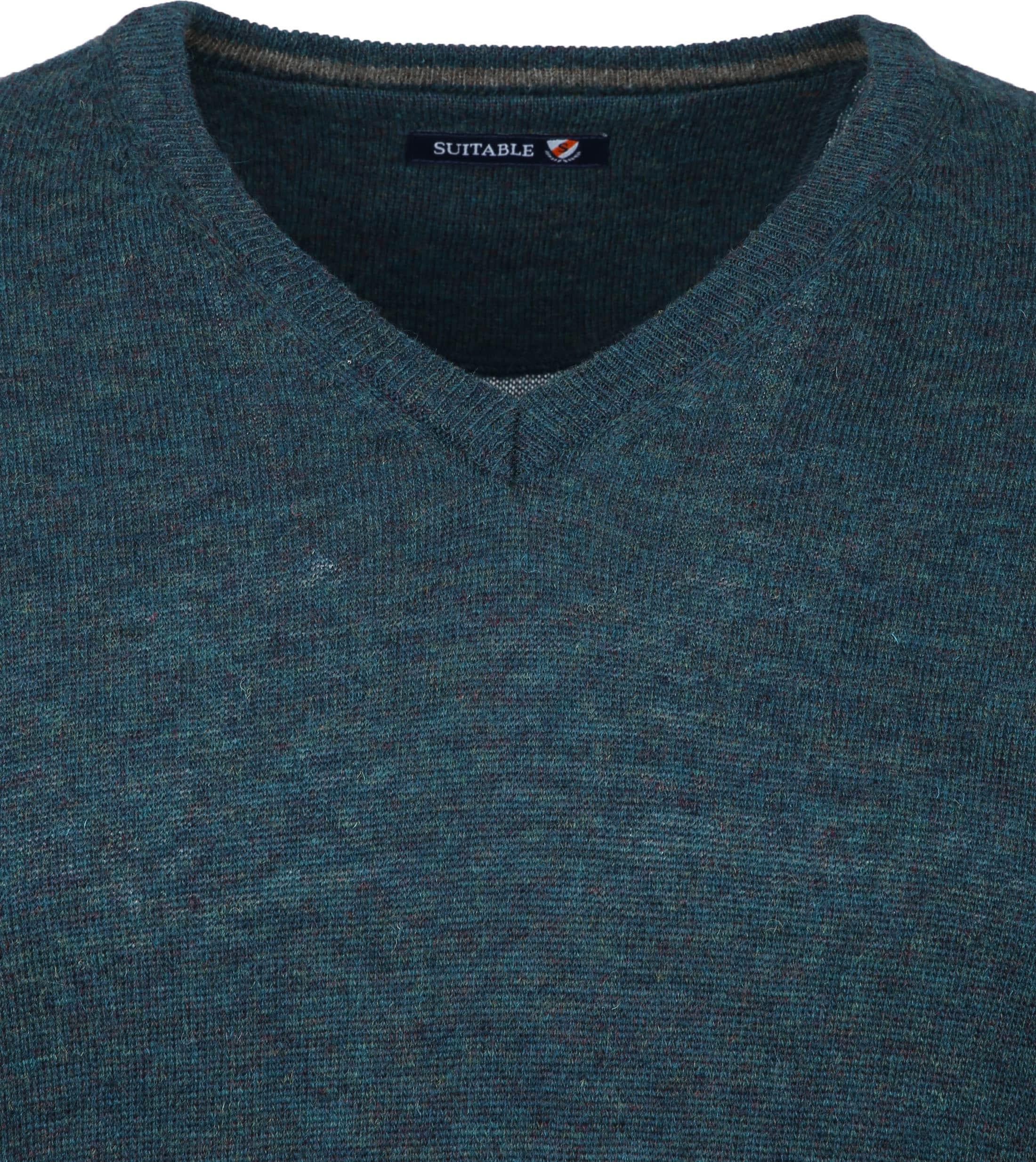Suitable Pullover V-Hals Lamswol Groen foto 2