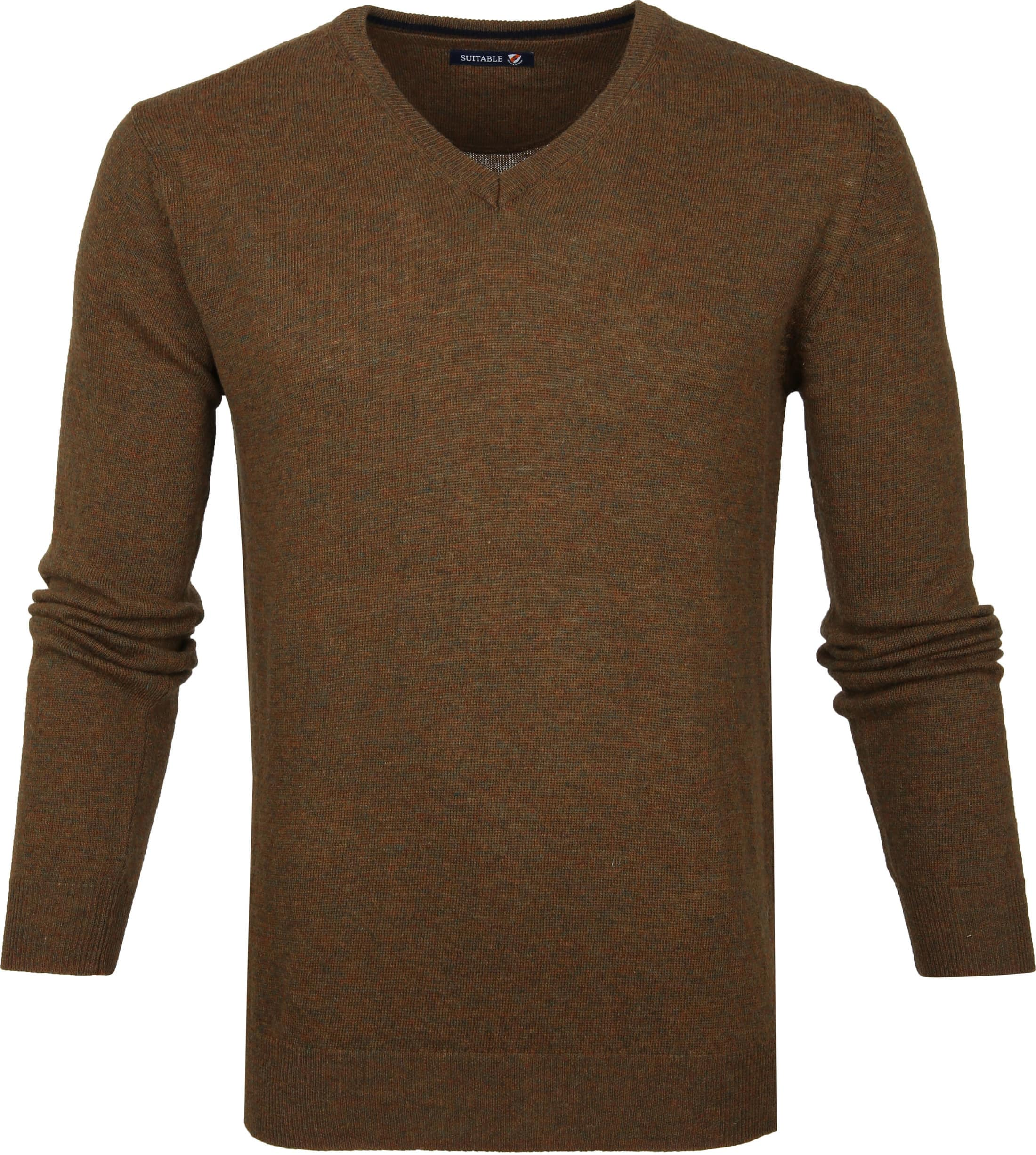 Suitable Pullover V-Neck Lambswool Brown foto 0