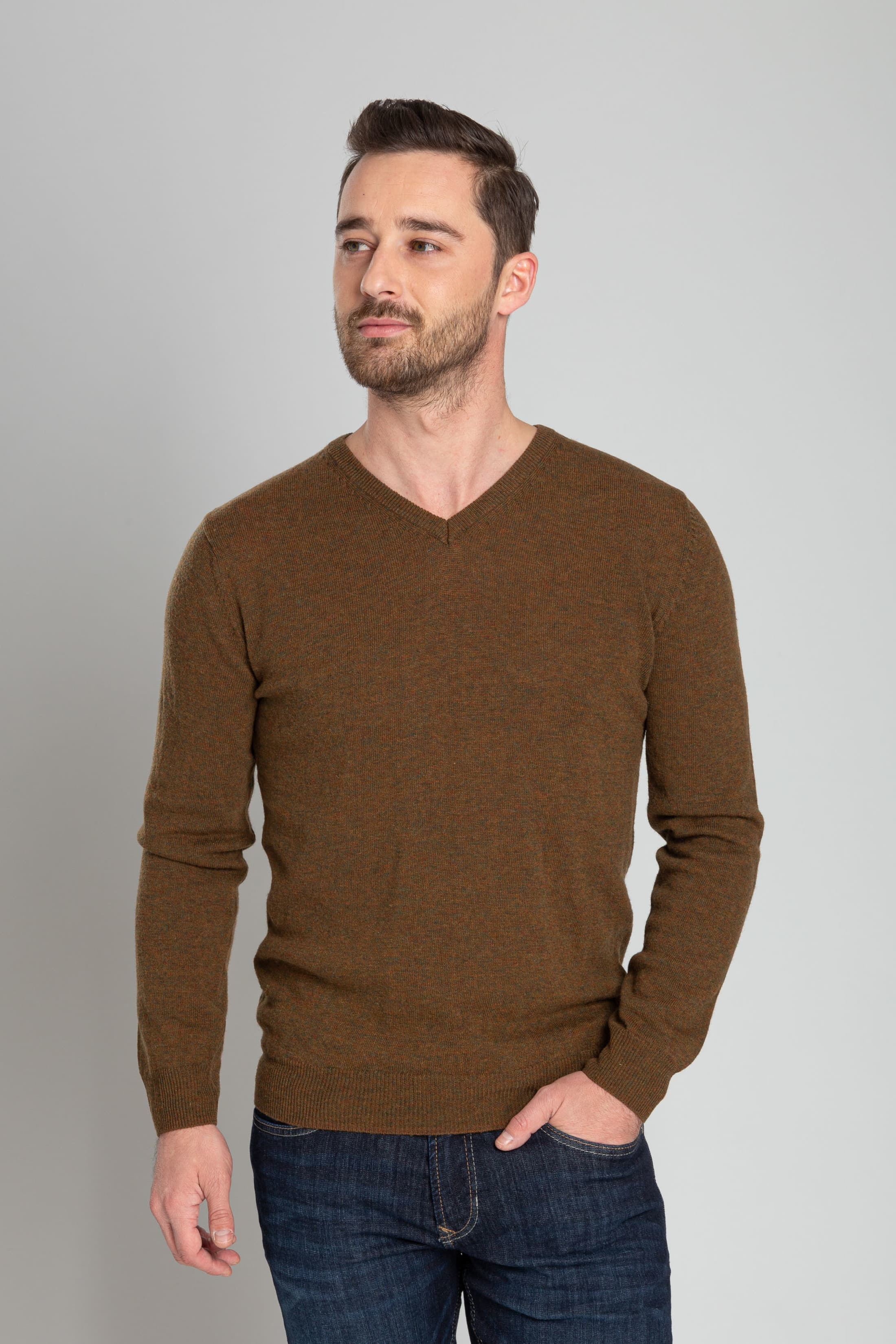 Suitable Pullover V-Neck Lambswool Brown foto 1