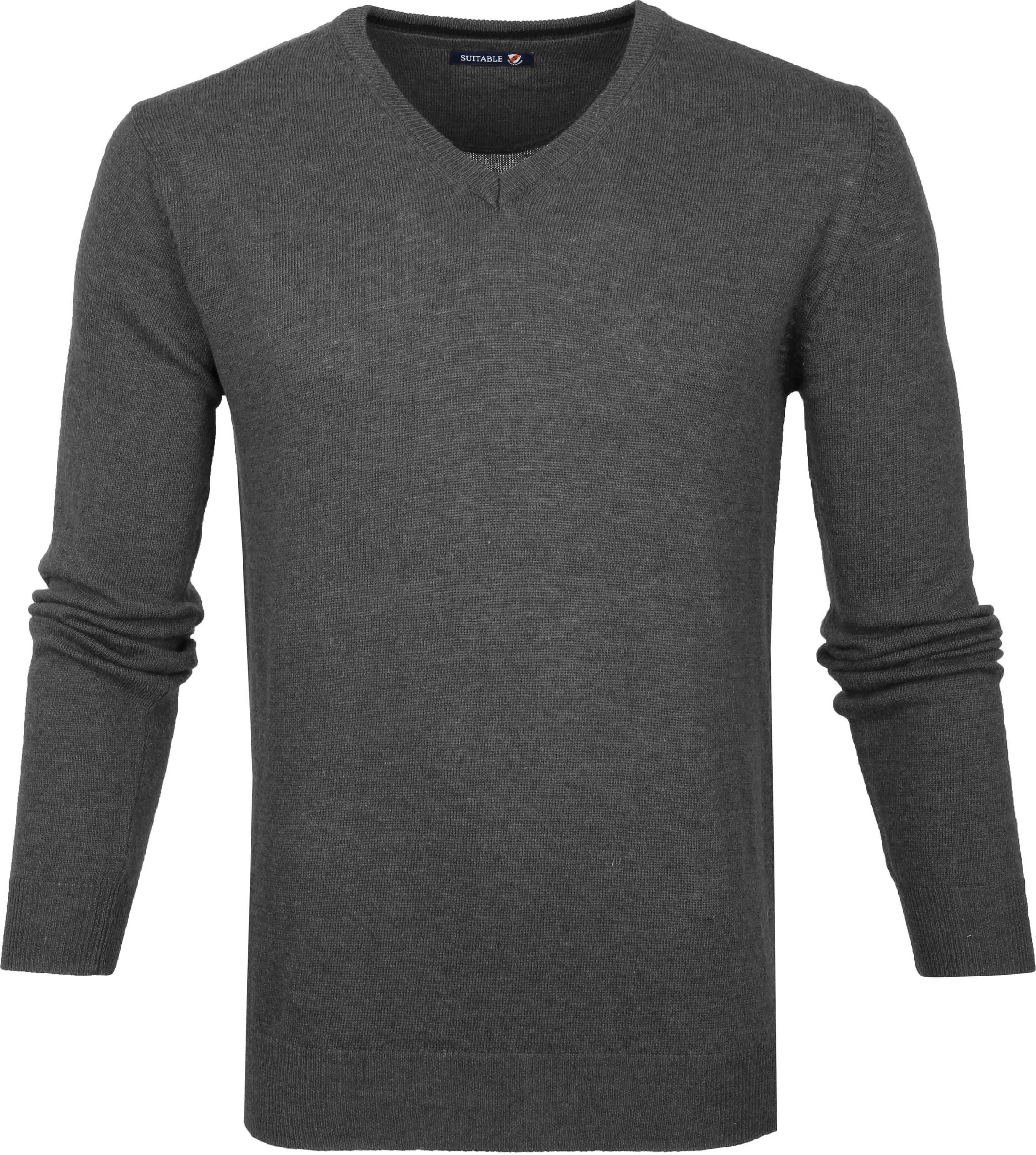 Suitable Pullover V-Neck Lambswool Grey foto 0