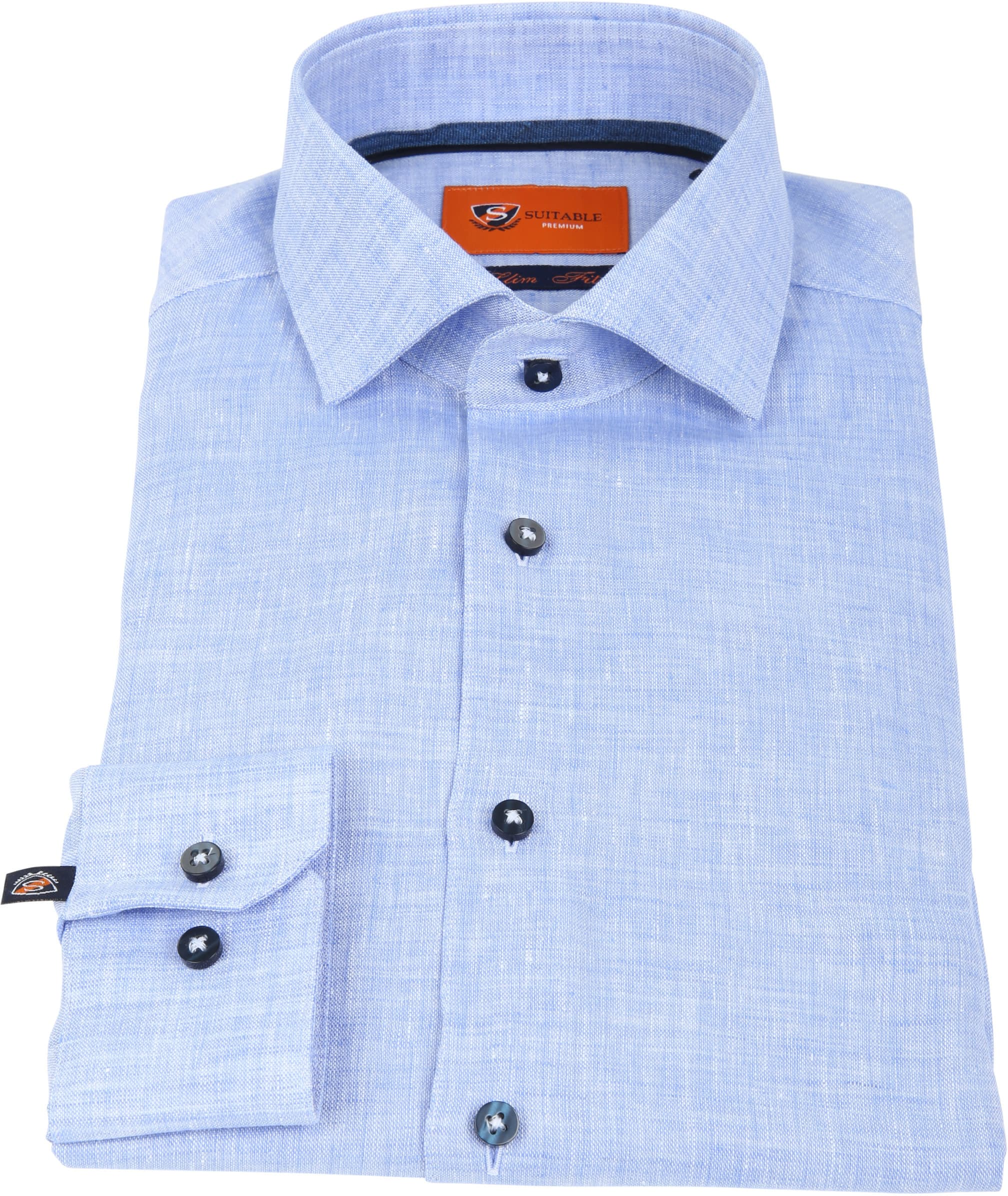 Suitable Shirt Linen Blue D81-12 foto 2