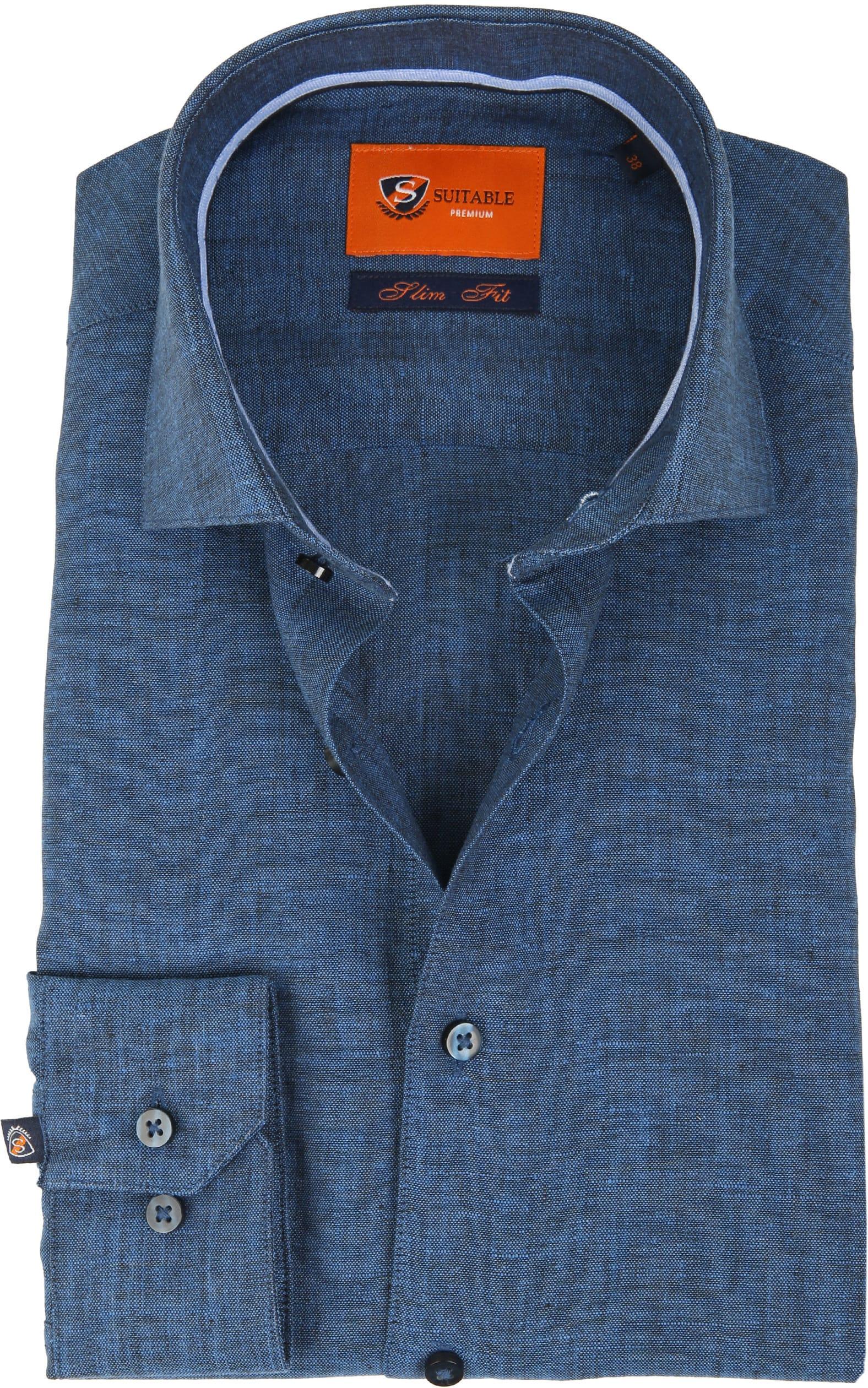 Suitable Shirt Linen Navy D81-11