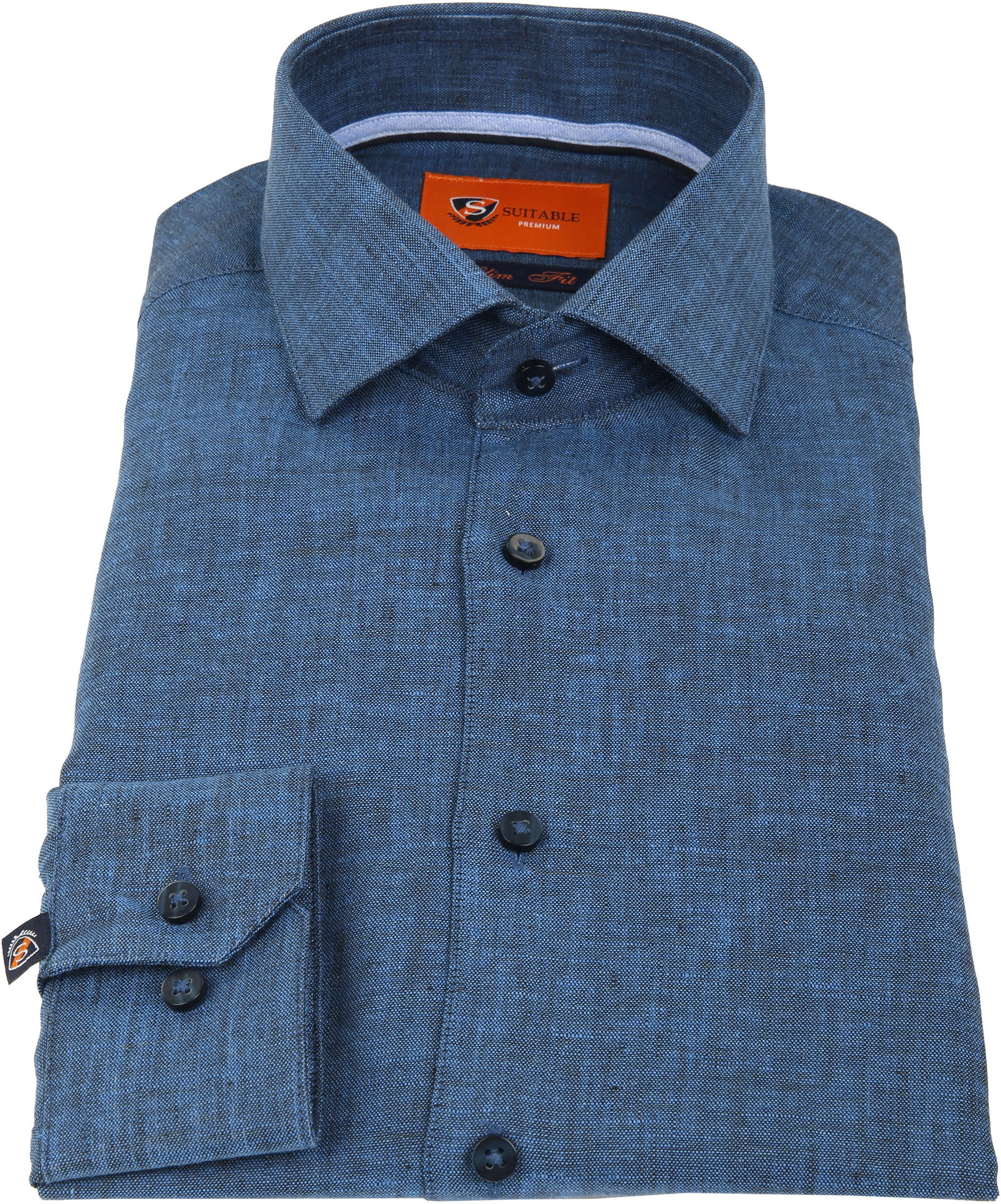 Suitable Shirt Linen Navy D81-11 foto 2