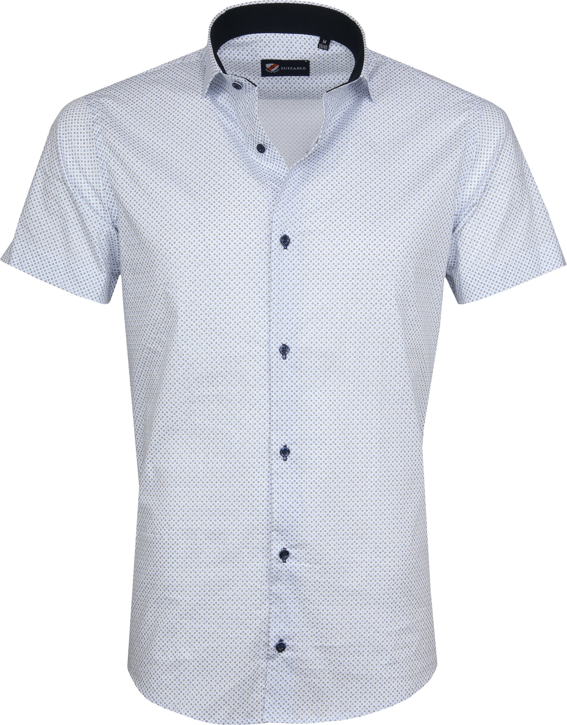 Suitable Shirt SS Carre White Blue foto 0