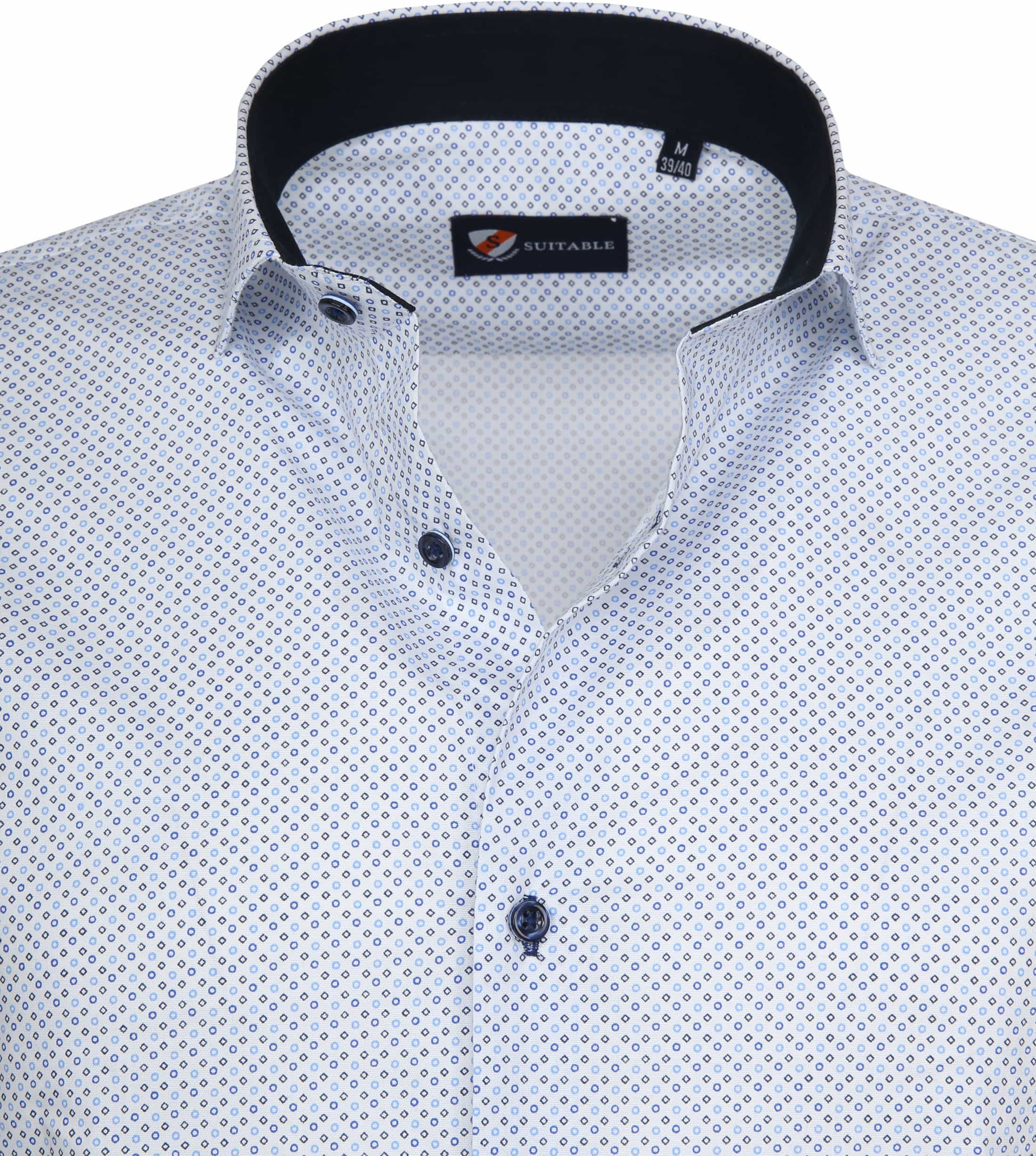 Suitable Shirt SS Carre White Blue foto 1
