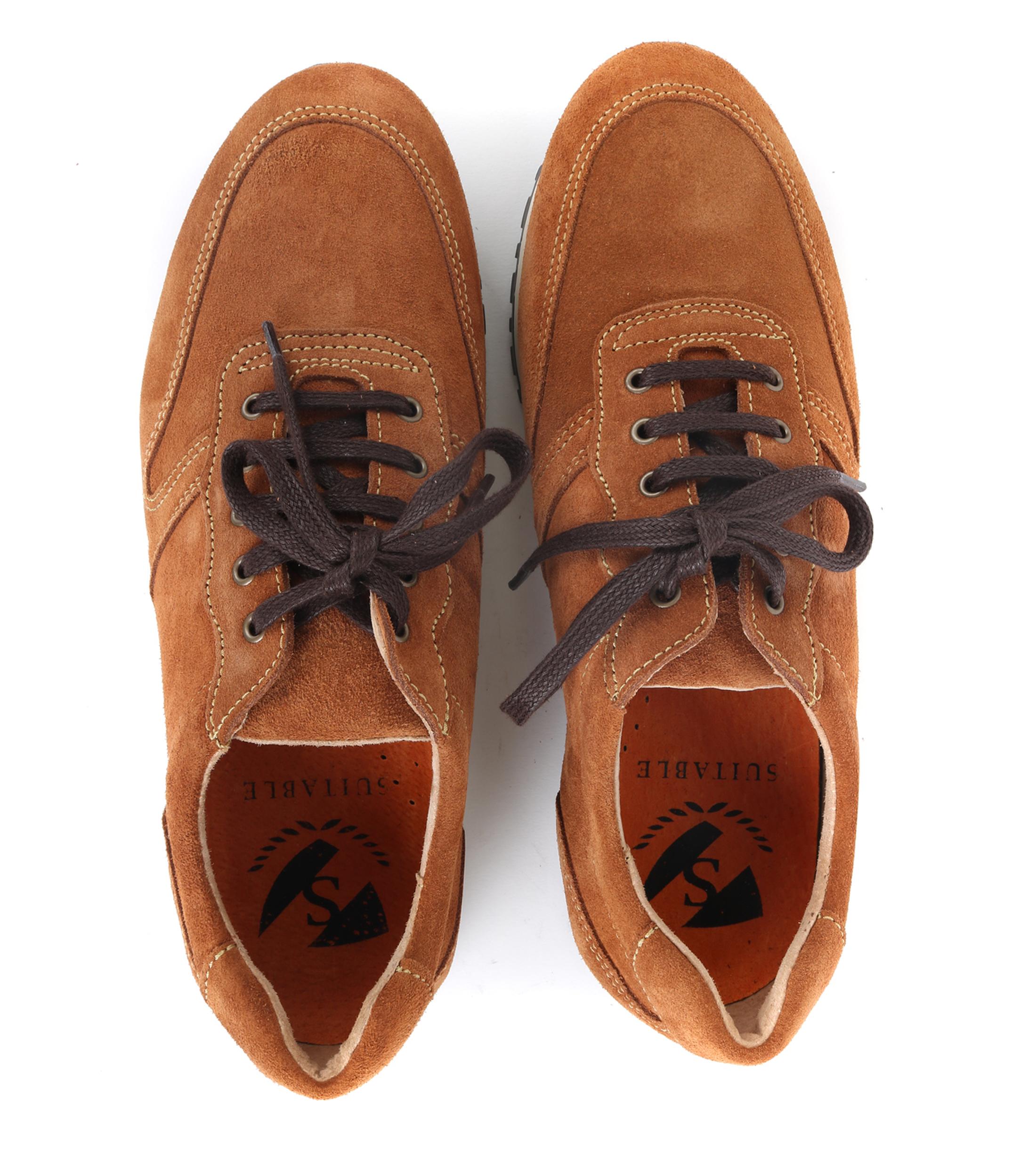 Suitable Sneaker Cognac Suede foto 3