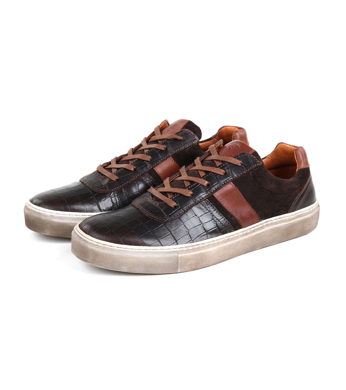 Suitable Sneaker Croco Bruin foto 3