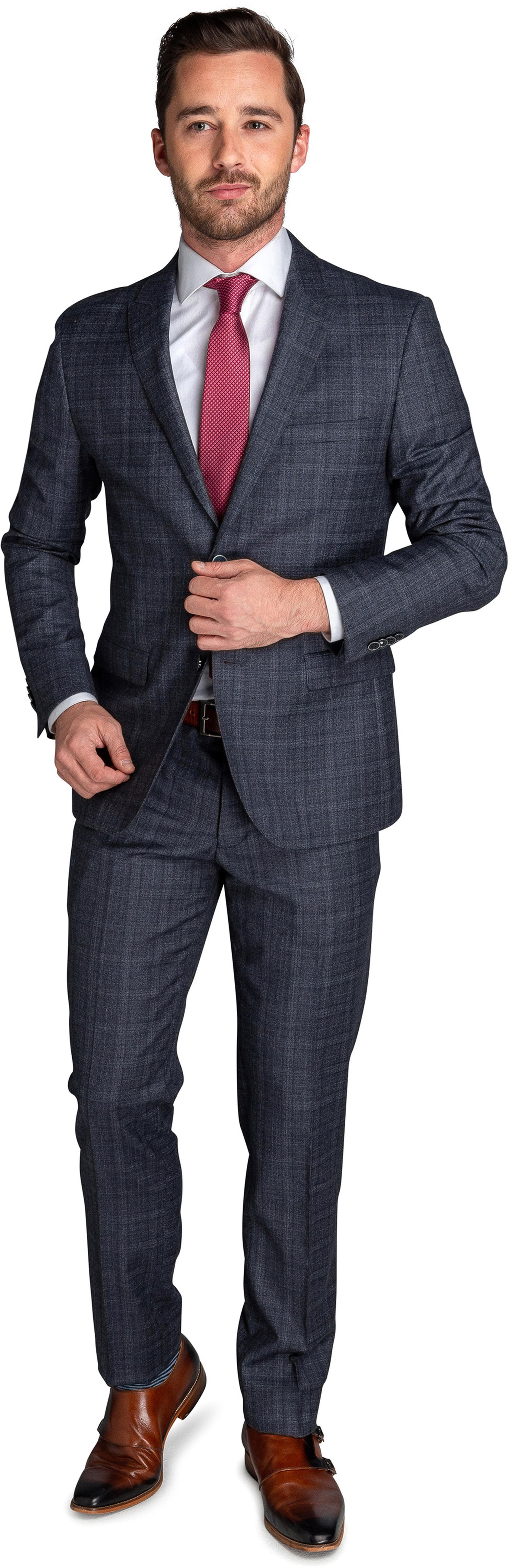 Suitable Suit Strato Windowpane Grey foto 0