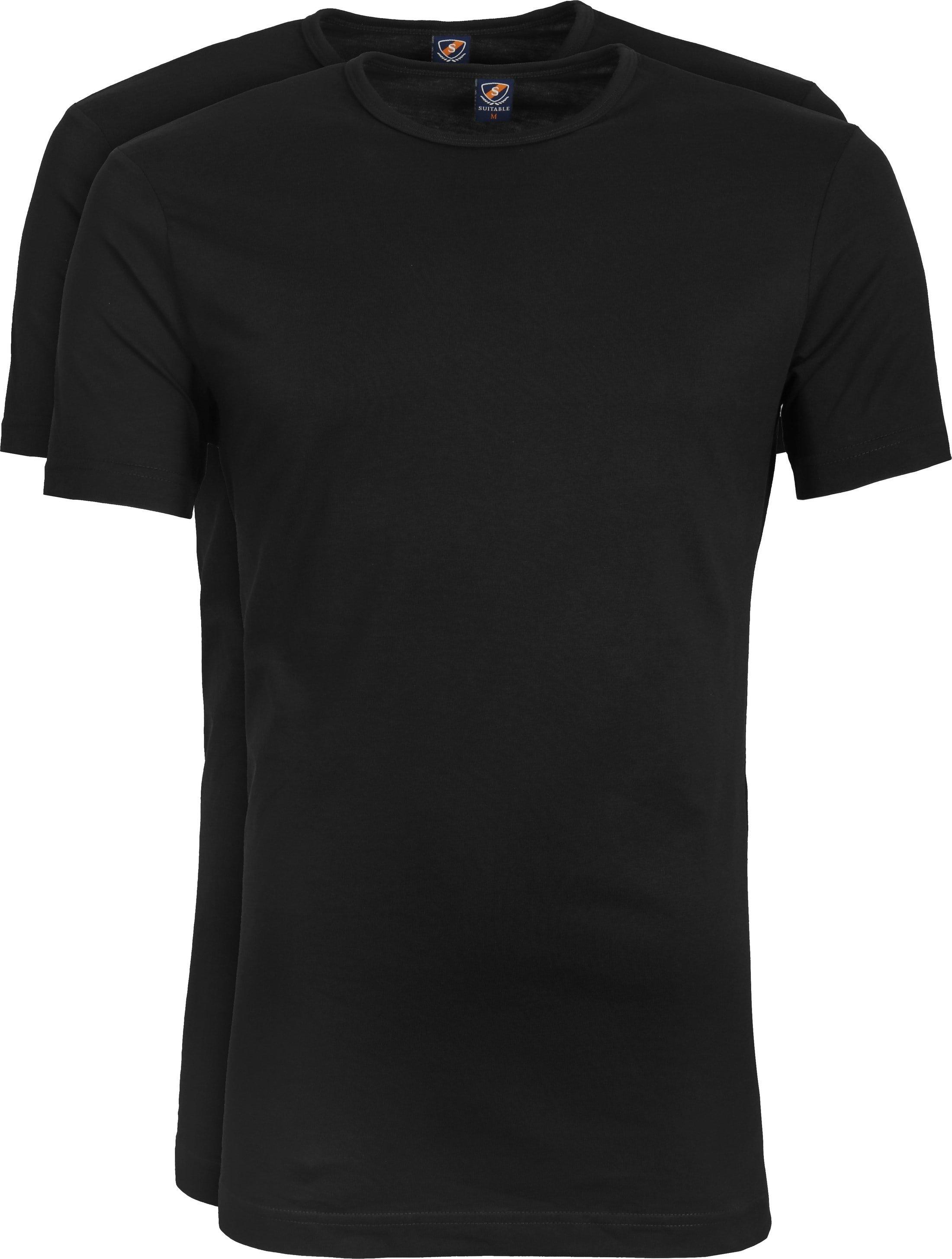 Suitable T-shirt 2-Pack O-Ausschnitt Schwarz foto 0