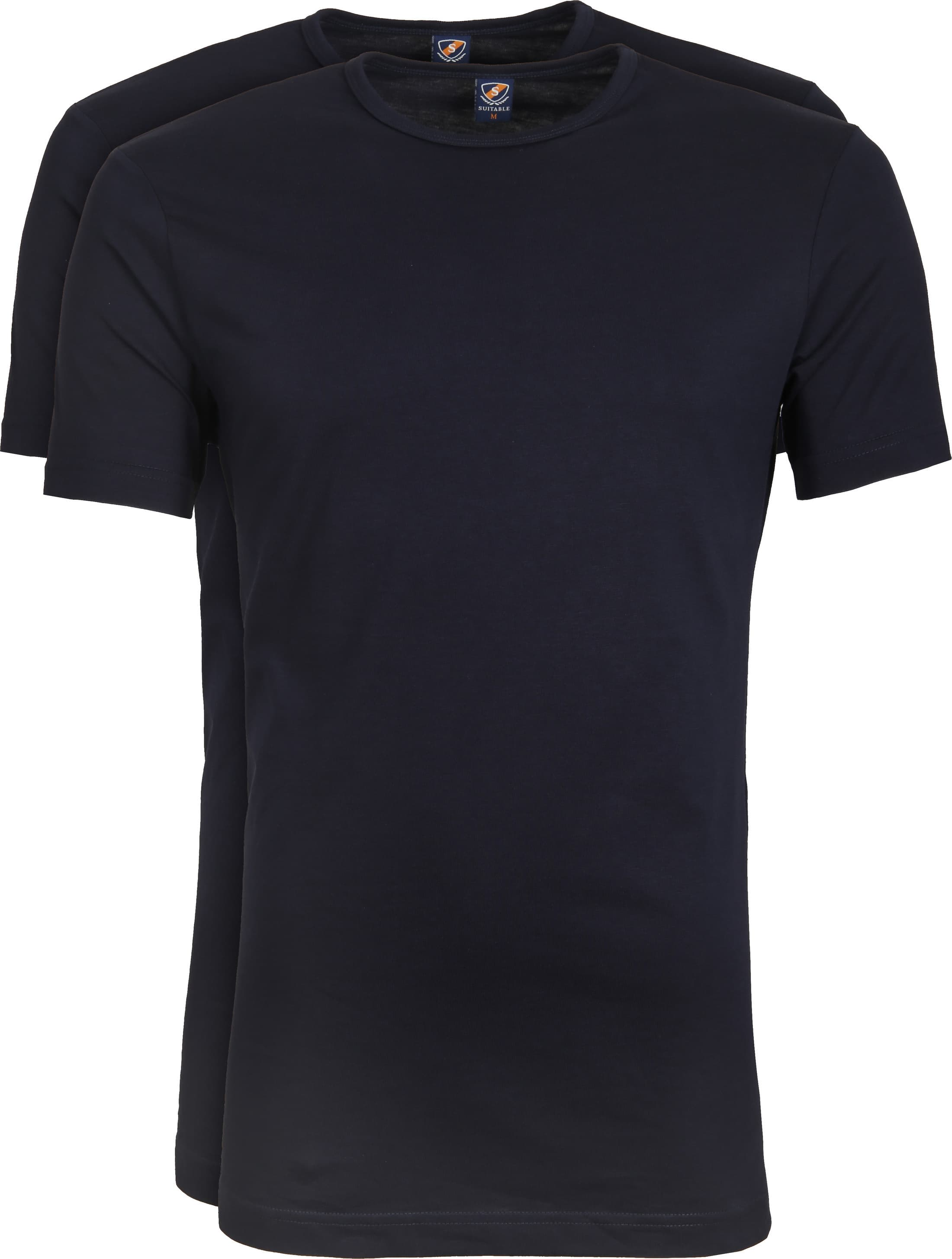 Suitable T-shirt 2er Pack O-Ausschnitt Dunkelblau