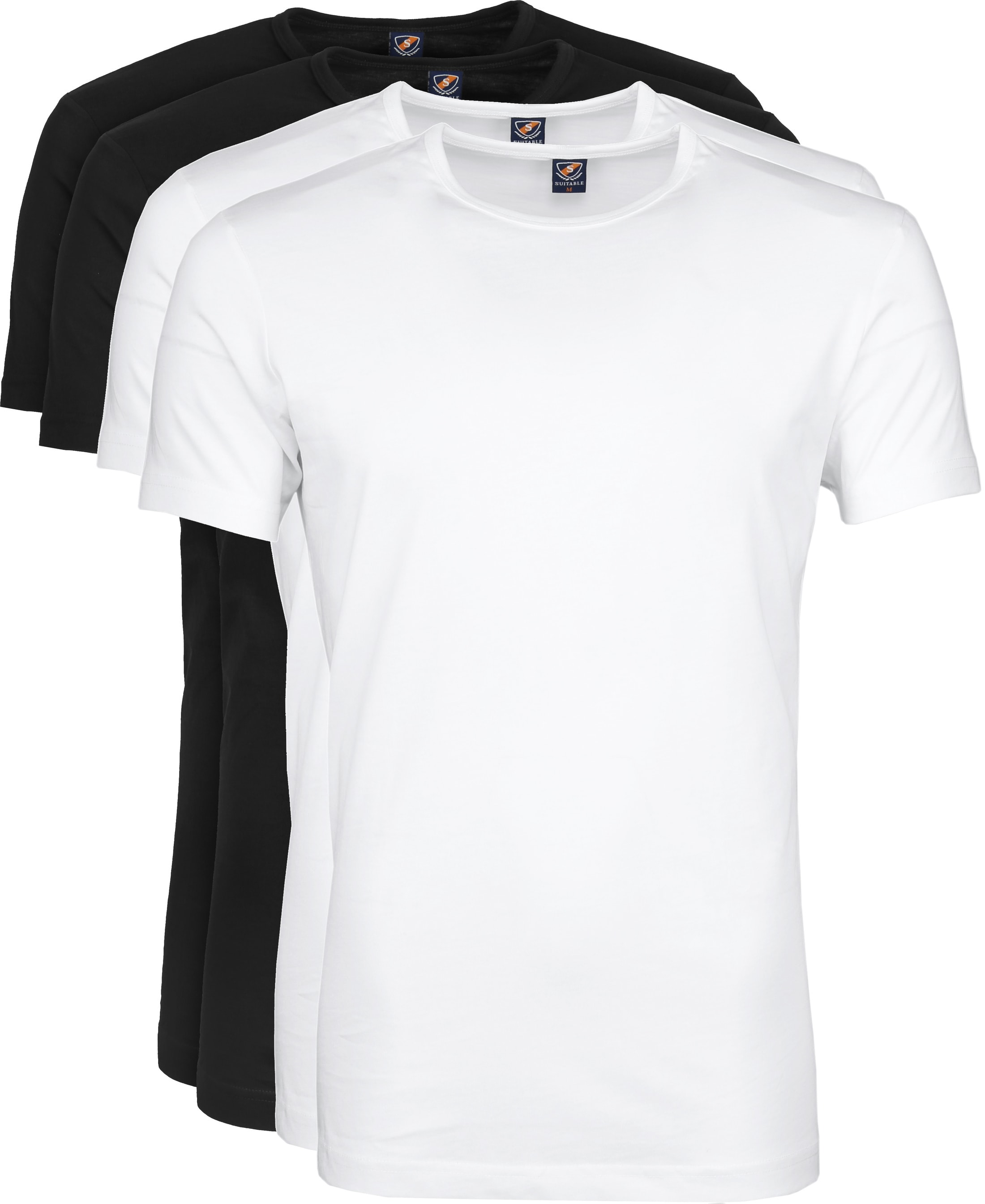 Suitable T-shirt 4-Pack O-Neck Wit Zwart foto 0